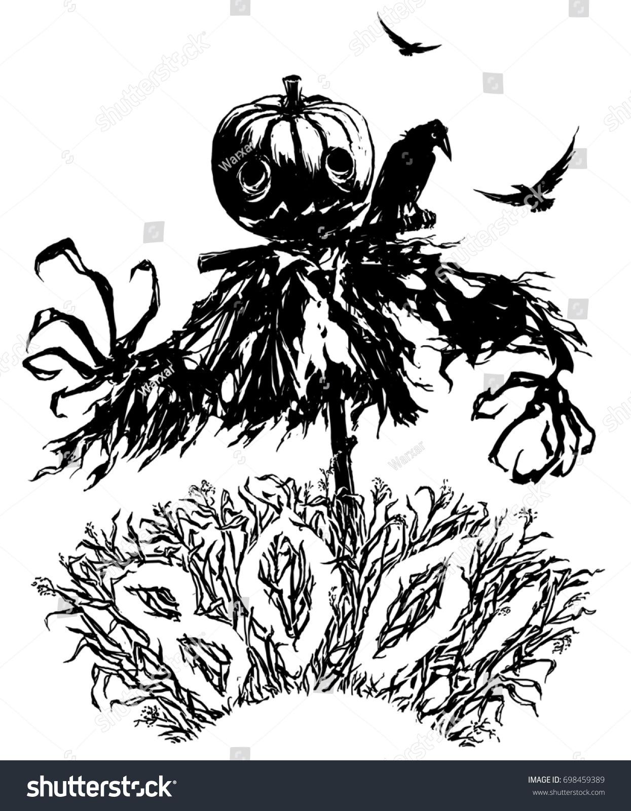 Pumpkin Jack Scarecrow Halloween Party Invitation Stock Illustration ...