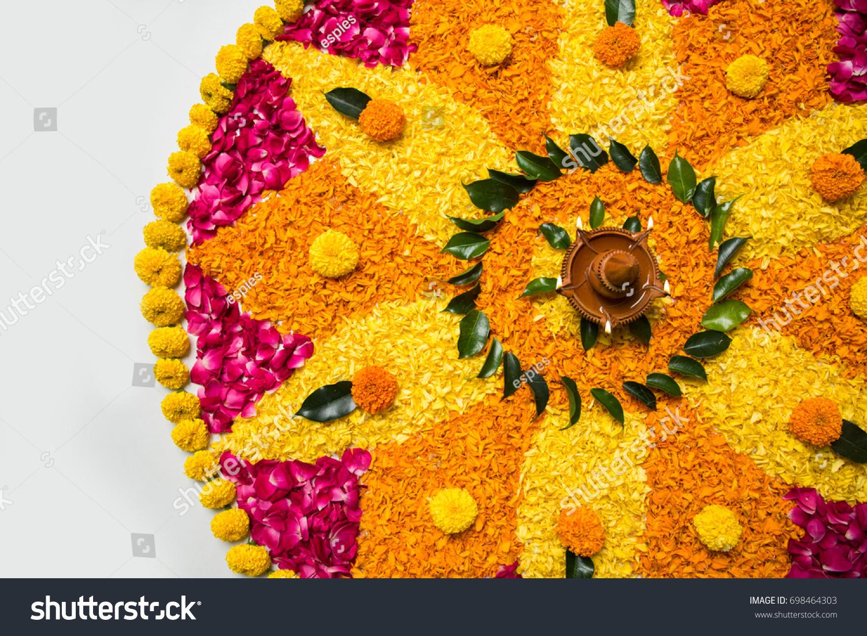 Flower Rangoli Diwali Pongal Made Using Stock Photo Edit Now 698464303