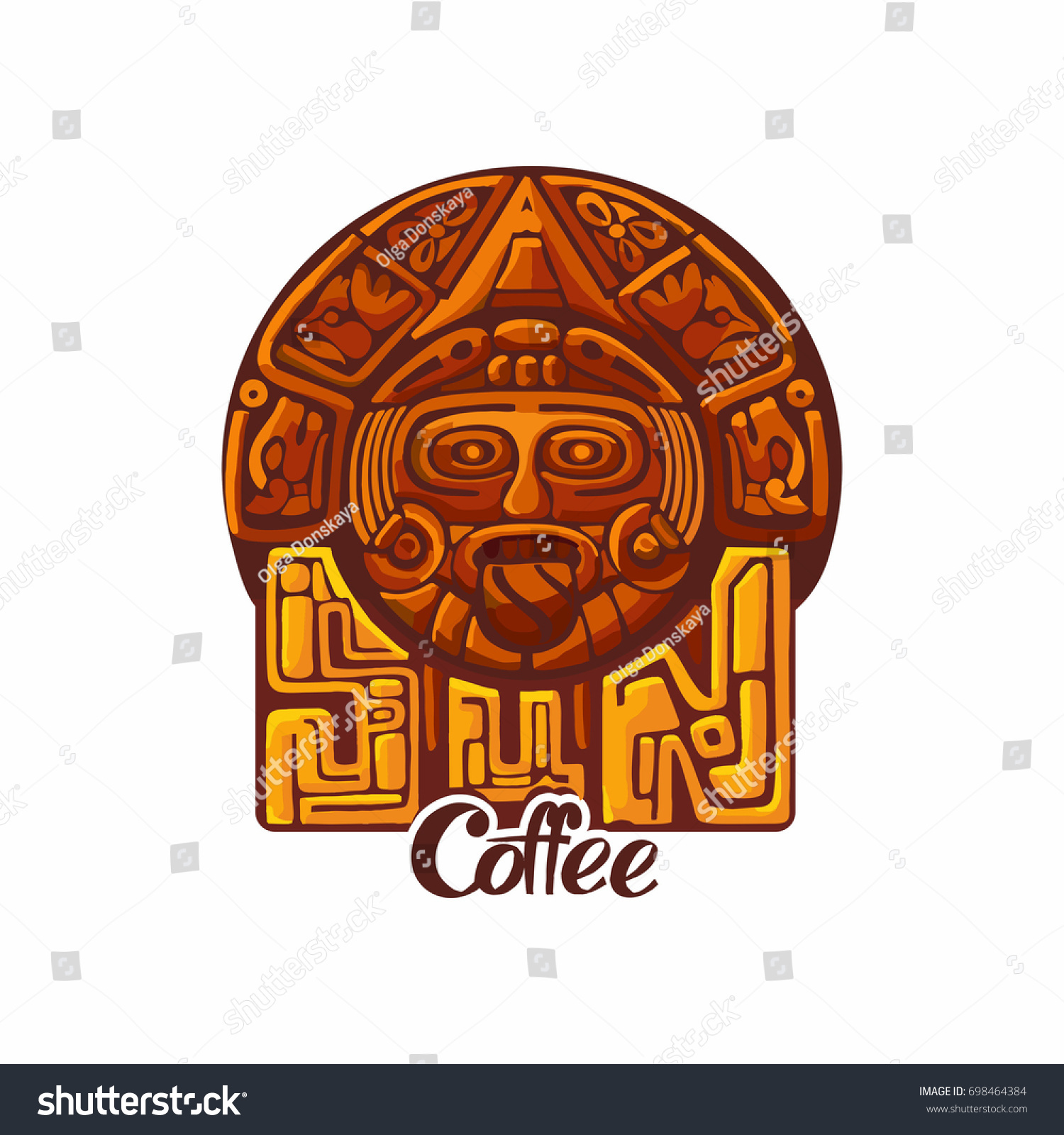 Maya Inca Style Logo Sun Coffee Stock Vector Royalty Free