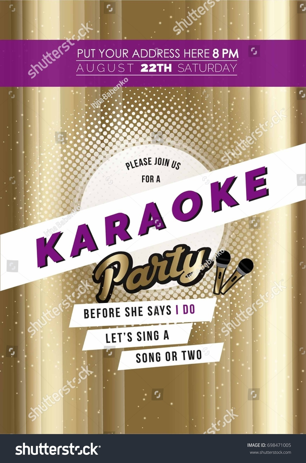 Modern Bachelorette Karaoke Party Invitation Card Stock Vector ...