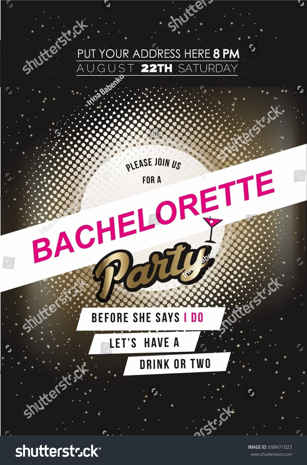 Modern Bachelorette Party Invitation Card Black Stock Vector ...