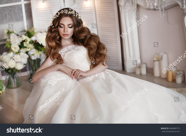 Fashion Bride Gorgeous Wedding Dress Studio Stock Photo (Download ...