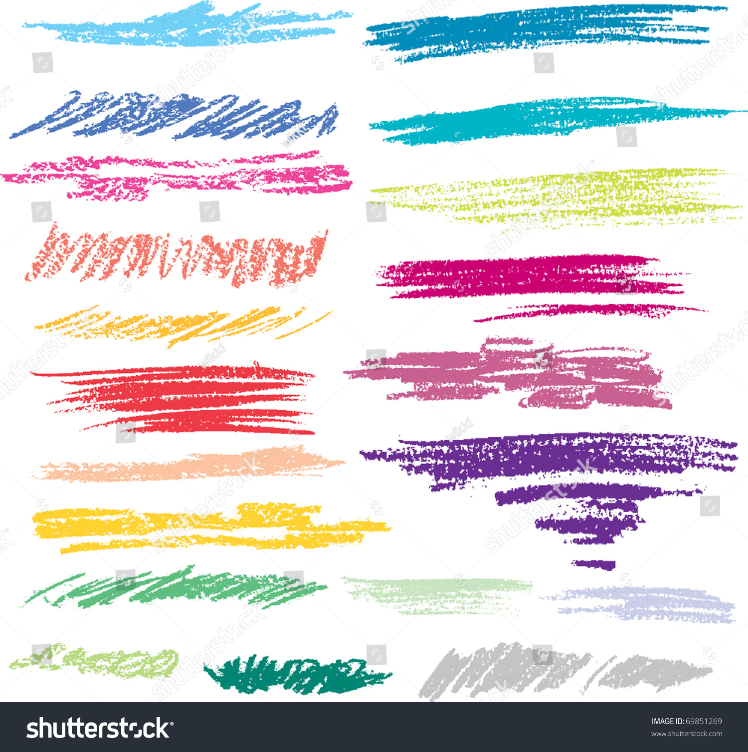 Main Colors In A Crayon Box Stock Vector Set Of Colored Brush Strokes Of