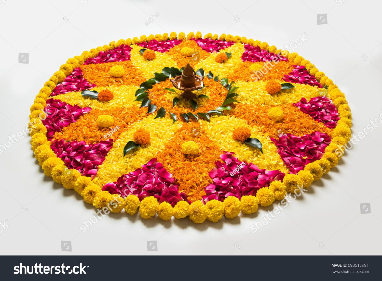 Flower Rangoli Diwali Pongal Made Using Stock Photo