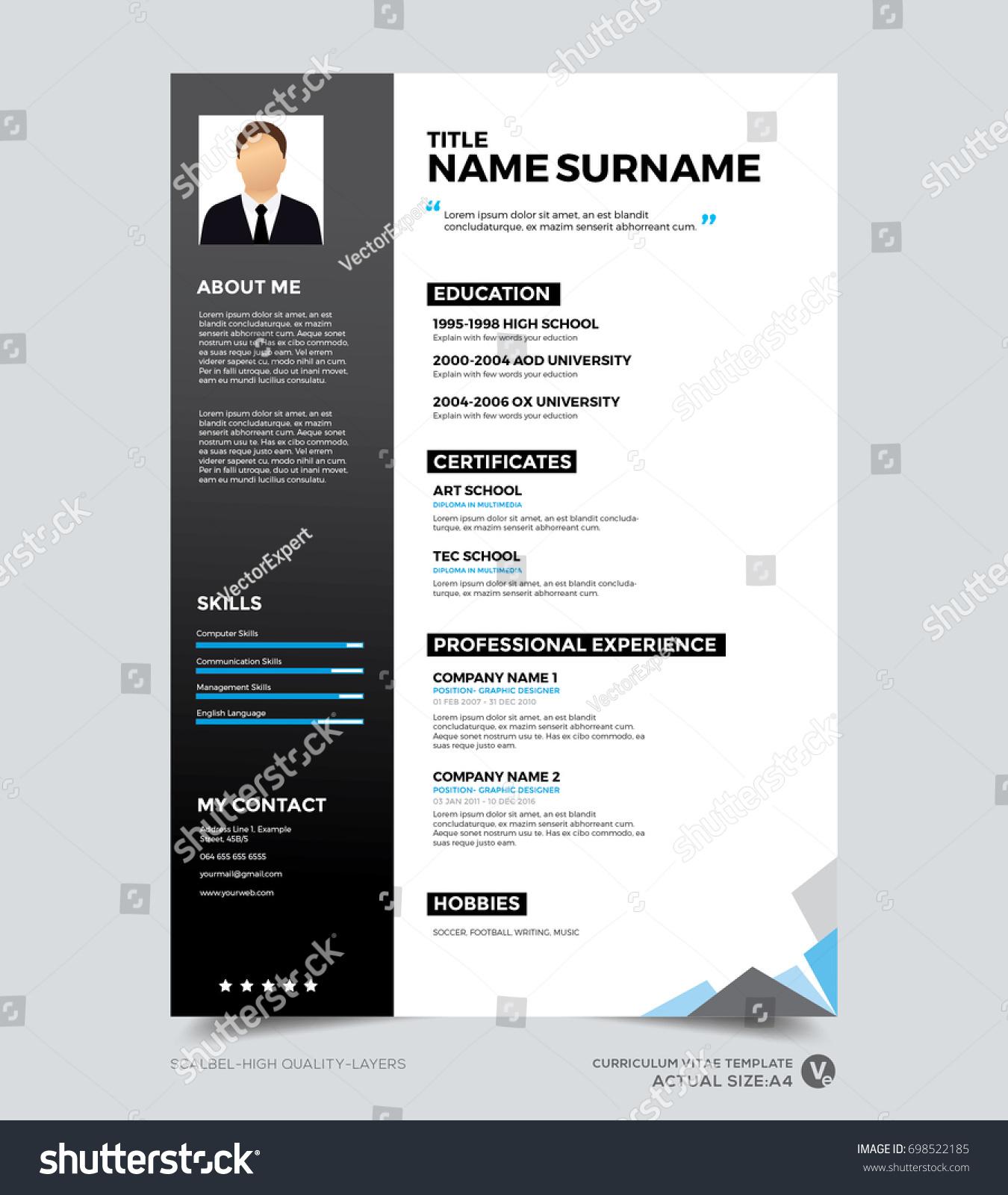 Clean Modern Design Template Resume CV Vector de stock (libre de ...