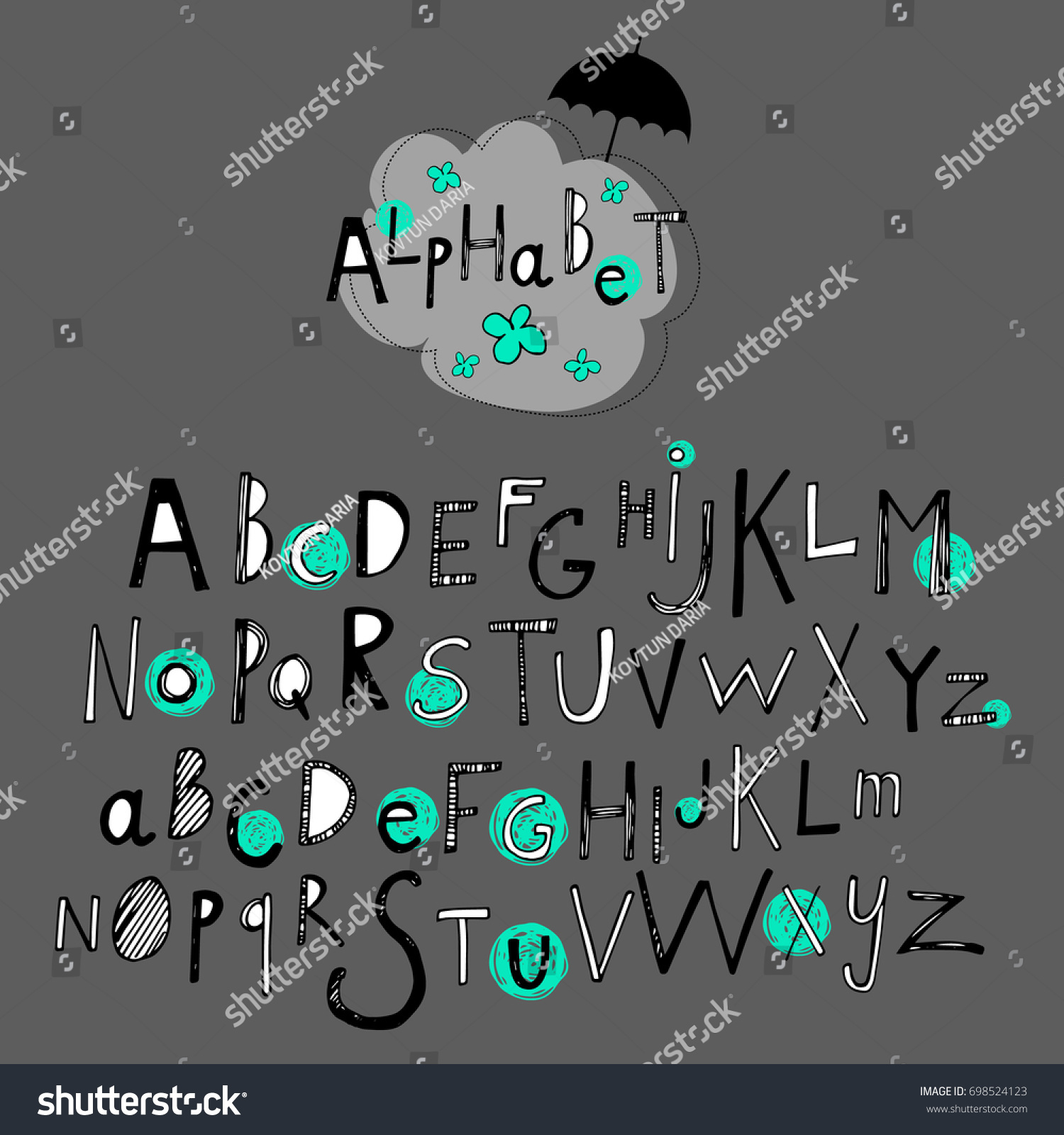 Letter Font Alphabet Vector Text Abc Stock Vector 2018 698524123