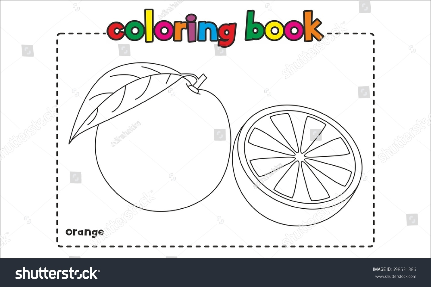 Orange Coloring Book Coloring Page Stock Vector 698531386 - Shutterstock