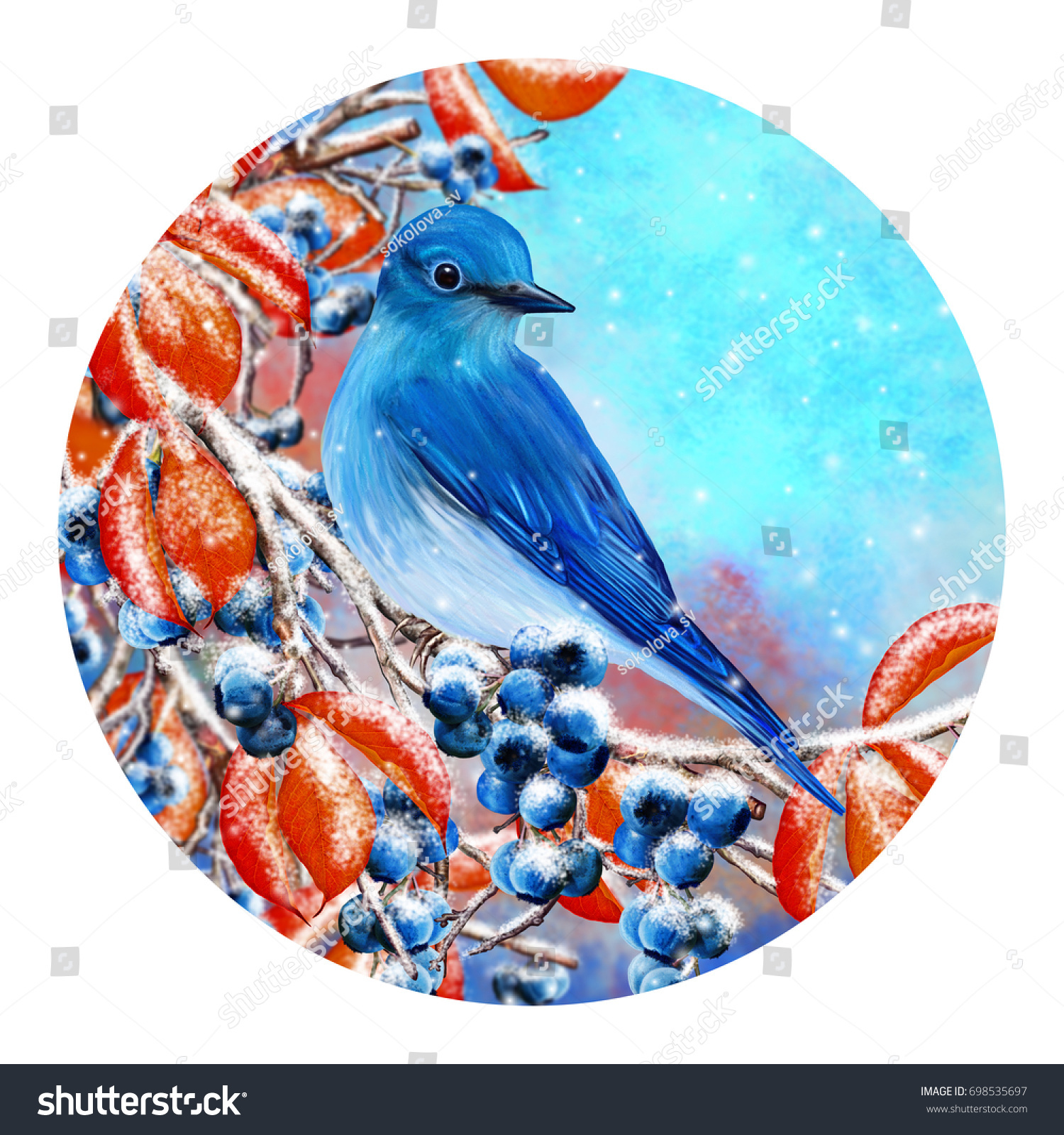 Round Form Painting Christmas Greeting Card Stock Illustration