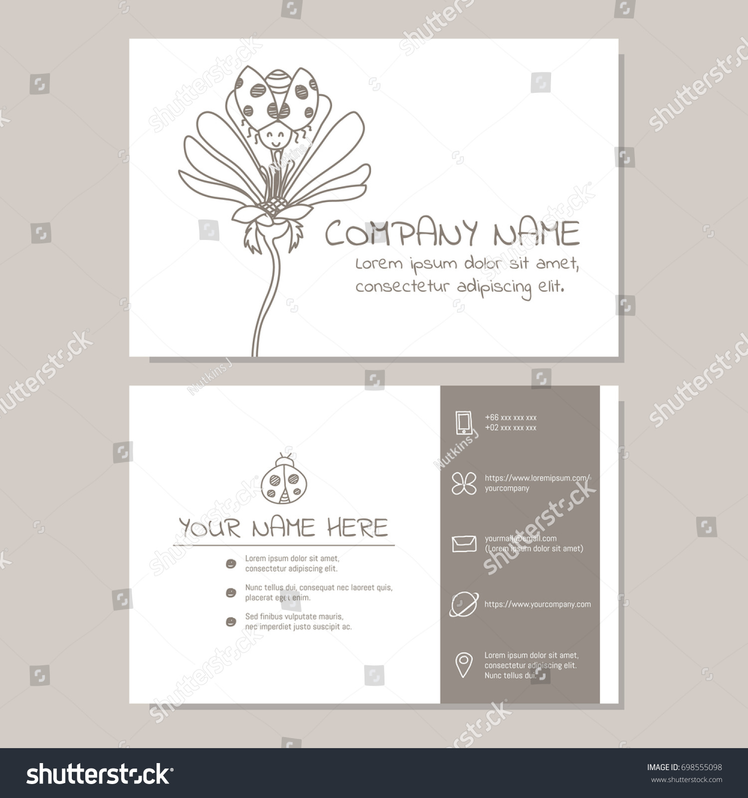 Cute Business Card Vector Illustration Template Stock Vector ...