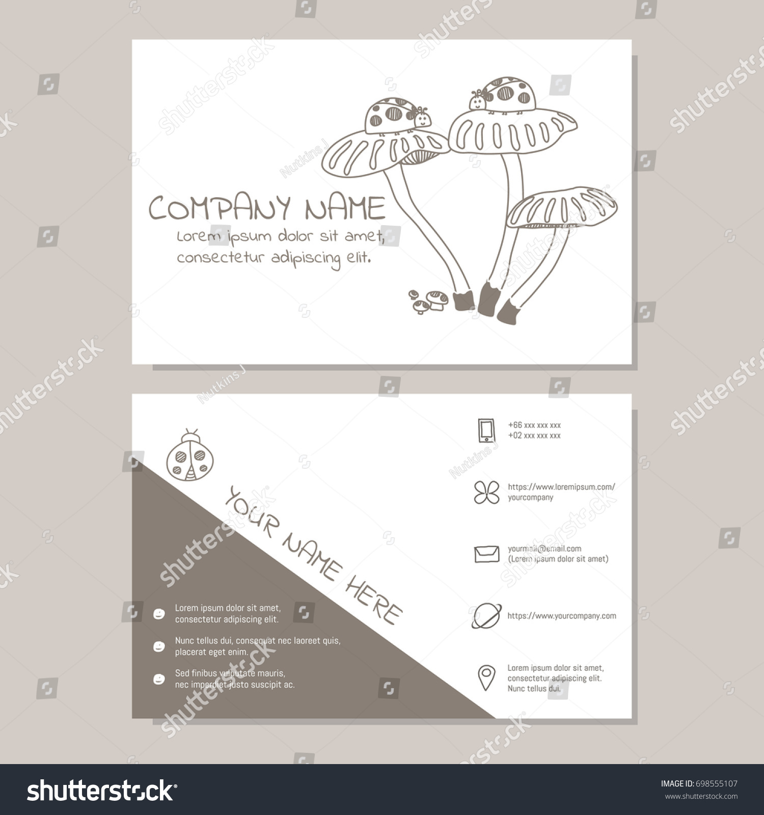 Cute Business Card Vector Illustration Template Stock Vector HD ...