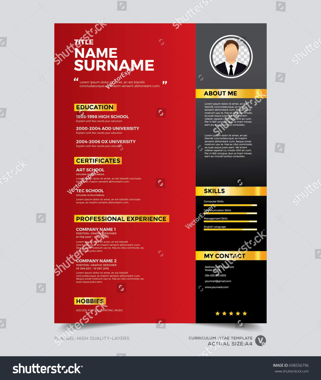 Clean Modern Design Template Resume CV Vector de stock (libre de ...