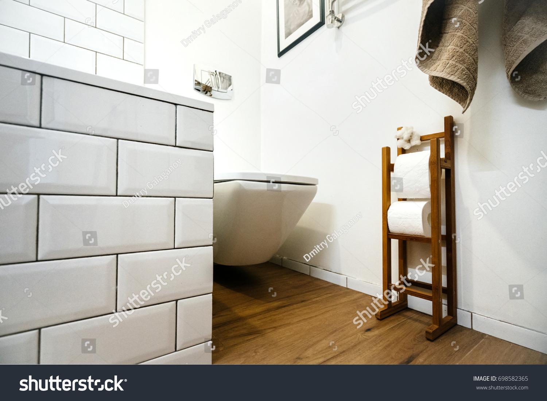 Modern Bright Bathroom Design Toilet Stone Stock Photo (Edit Now ...