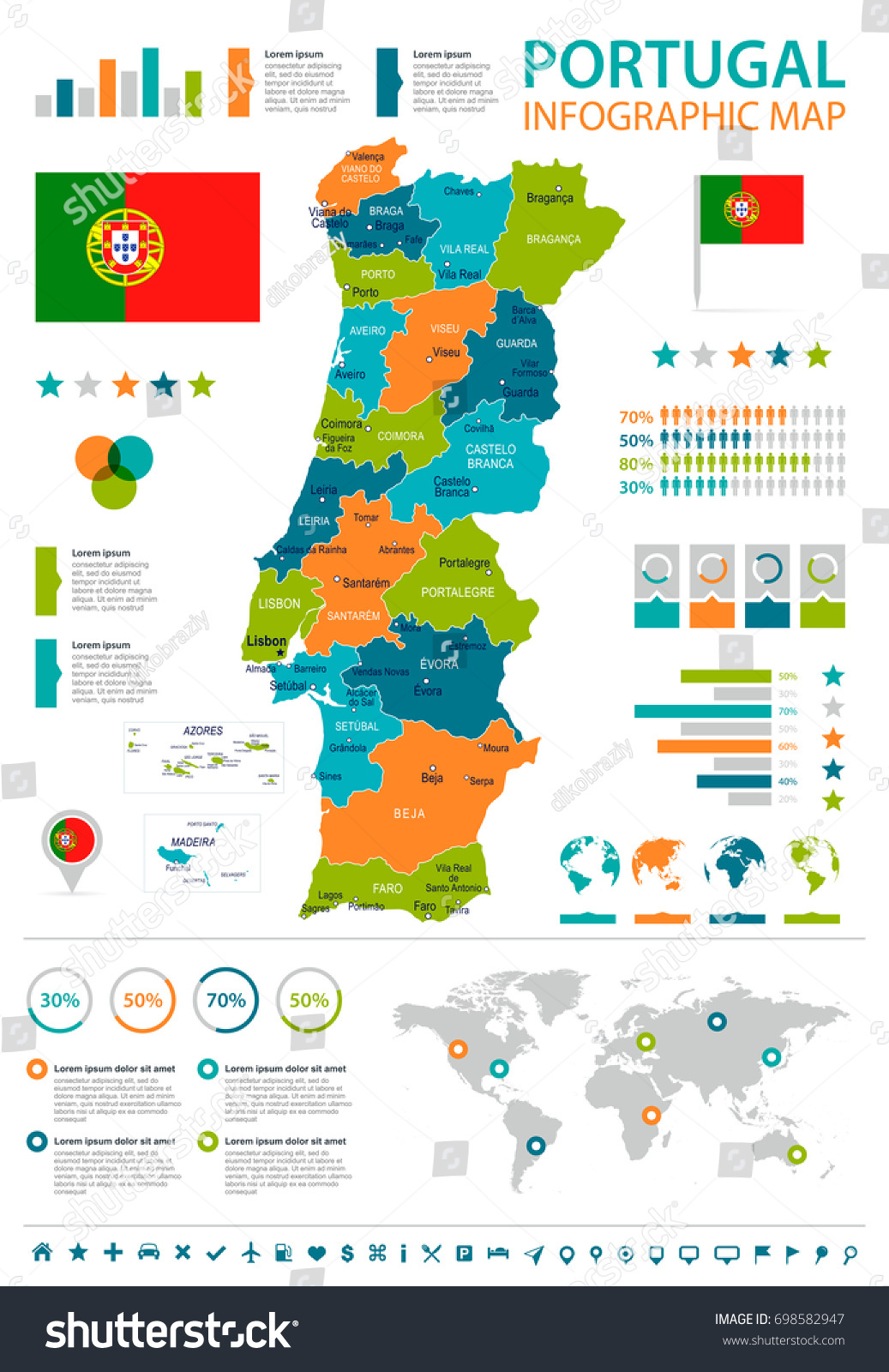 Portugal Infographic Map Flag Vector Illustration Stock Vector - Portugal map braga