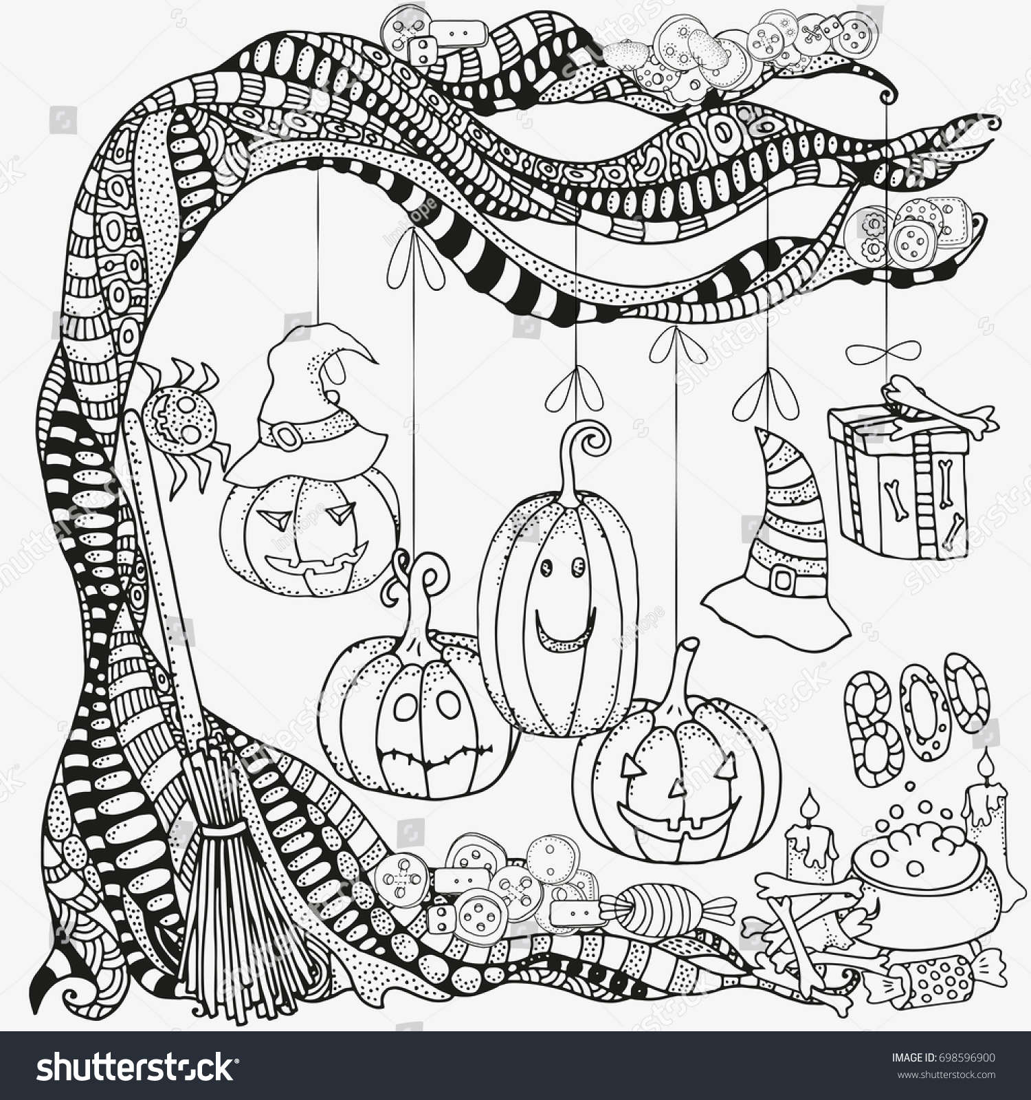 pattern coloring book set halloween symbols stock vector 698596900