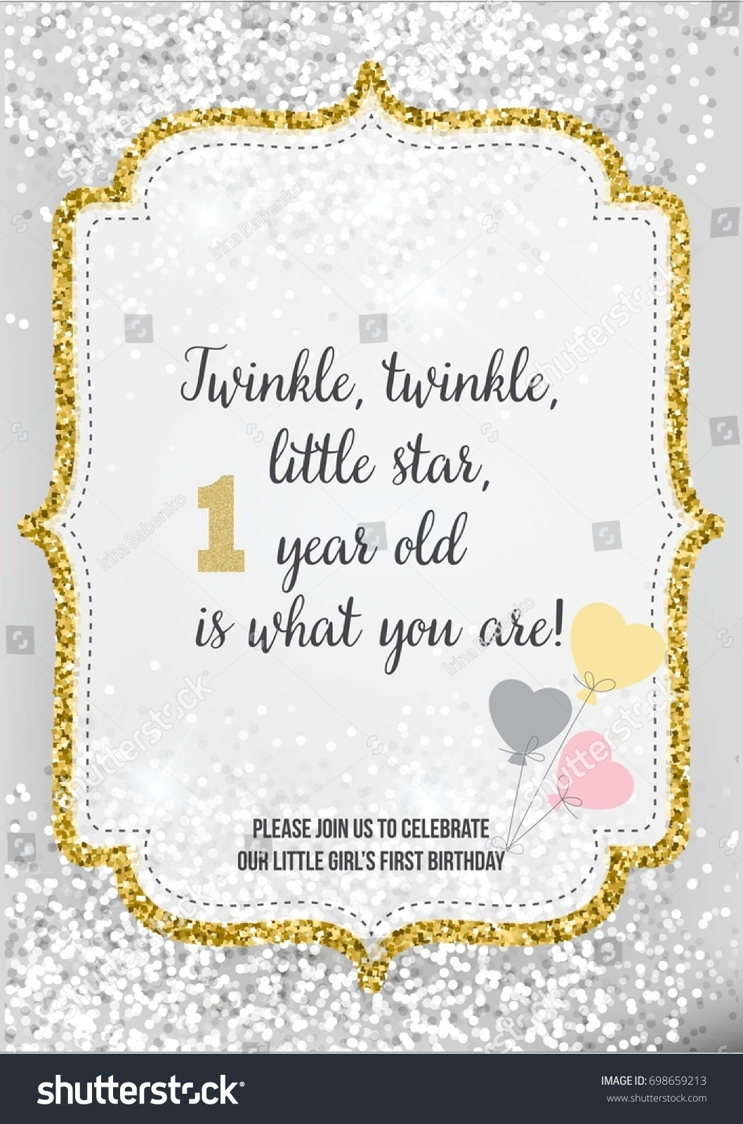 First Birthday Invitation For Girl One Year Old Party Printable Vector Template With Silver