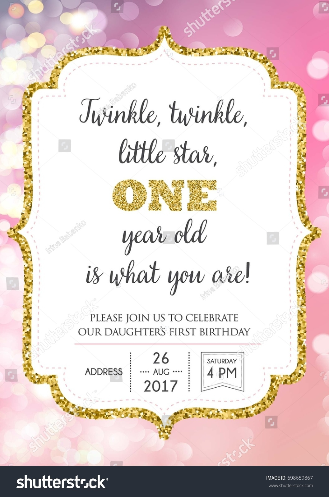 First Birthday Invitation Girl One Year Stock Photo (Photo, Vector ...
