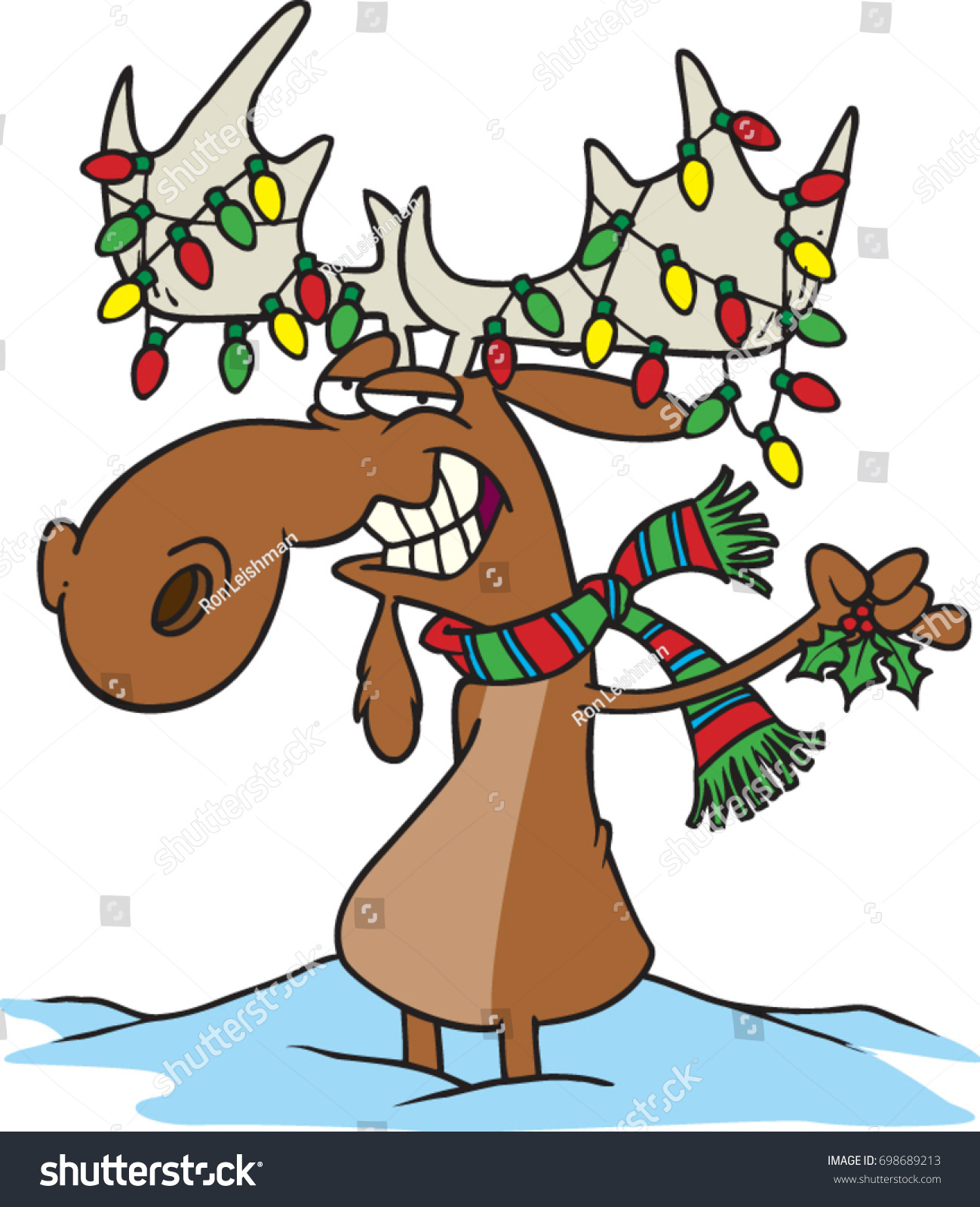 cartoon moose dressed up with christmas lights wearing a scarf and holding mistletoe