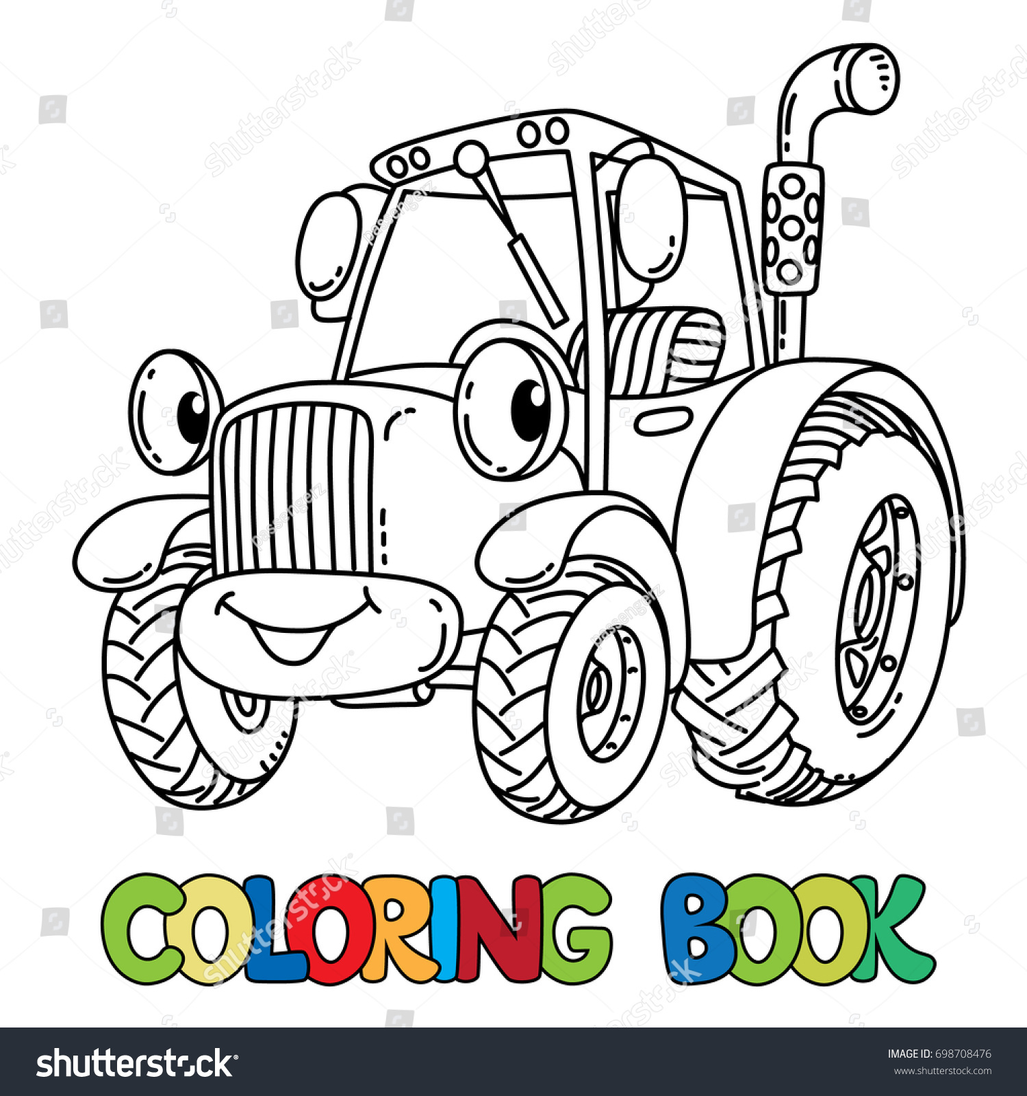 funny small tractor eyes coloring book stock vector 698708476
