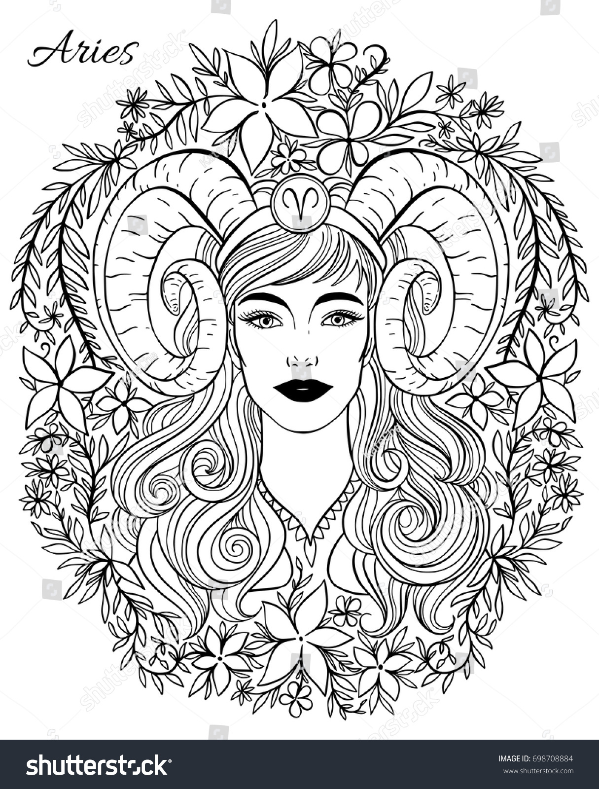 Zodiac sign aries woman hand drawn stock vector 698708884 for Flowers for aries woman