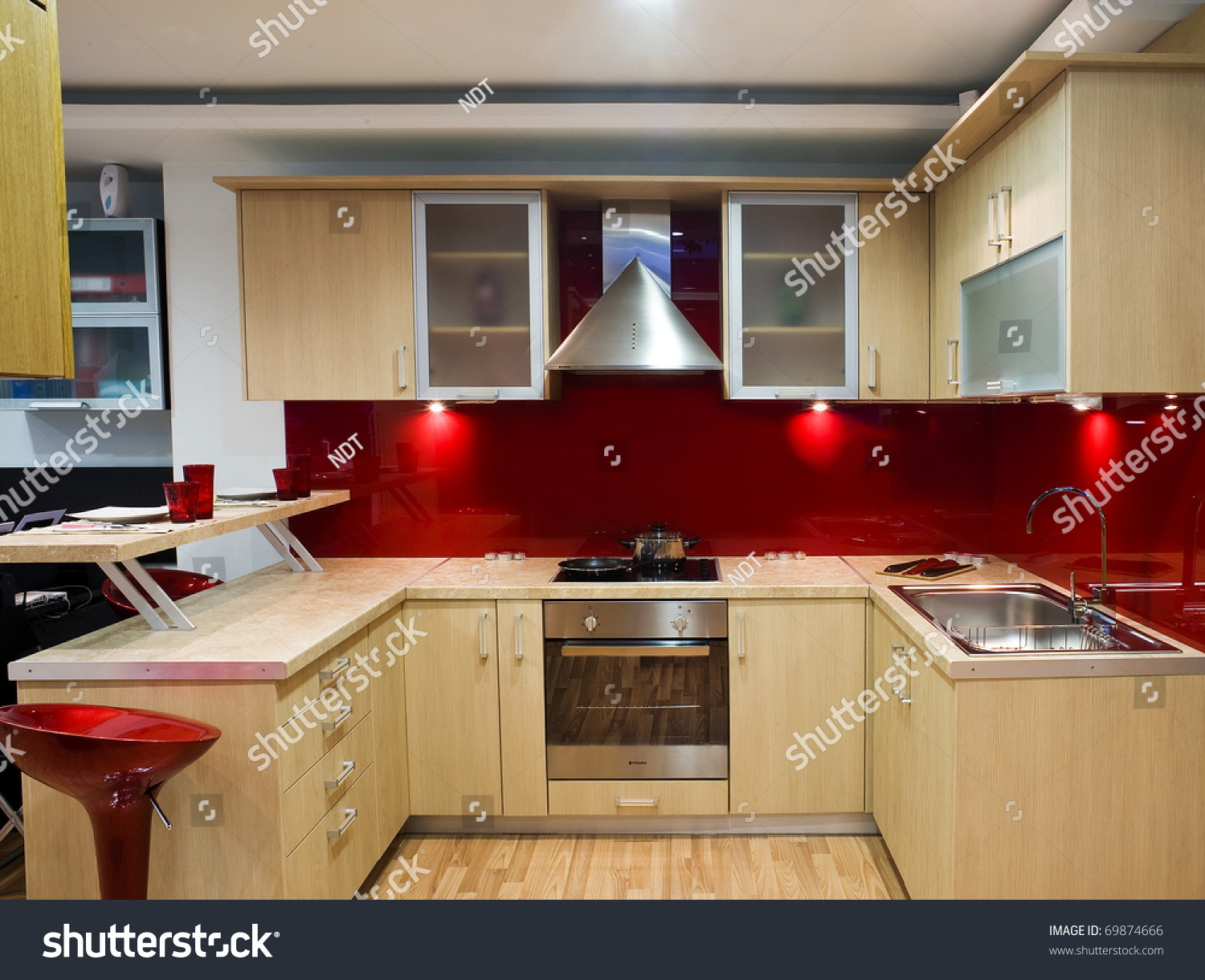 beautiful and modern kitchen in a showroom with wooden cupboards & Beautiful Modern Kitchen Showroom Wooden Cupboards Stock Photo (Edit ...