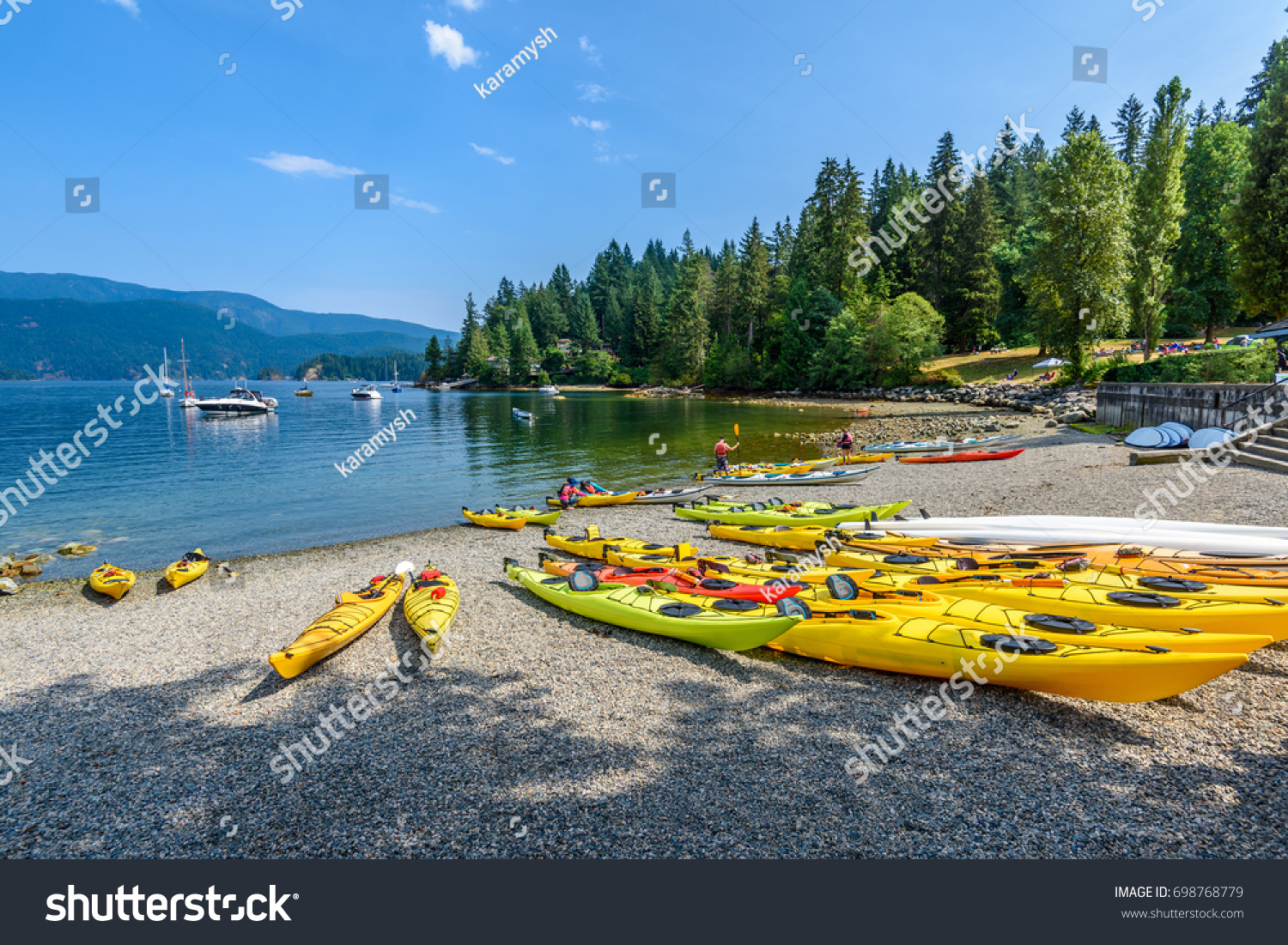 Canoe Kayak Luxury Yachts Bay Deep Stock Photo (Edit Now