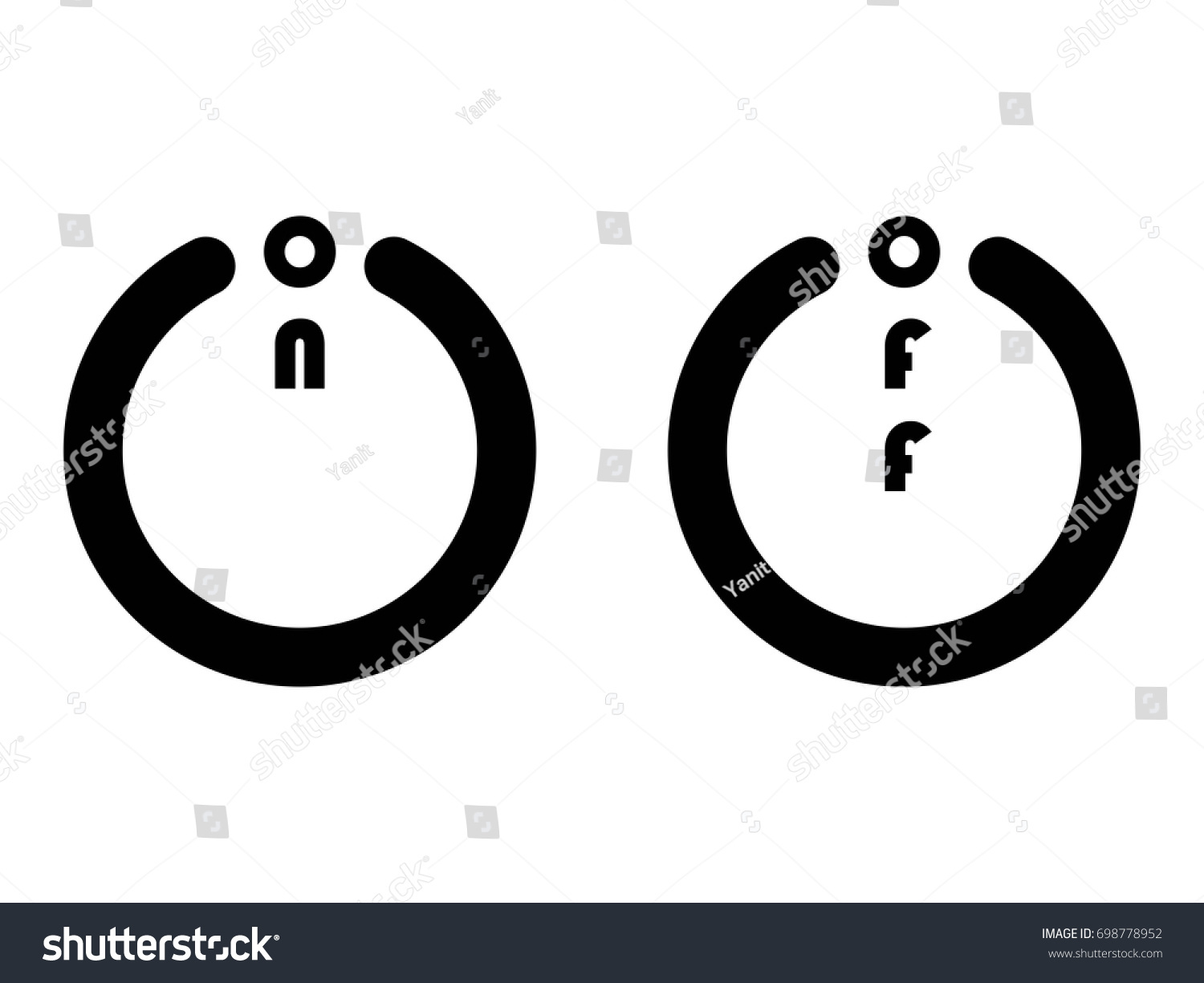On Off Button Icons Isolated On Stock Vector Royalty Free