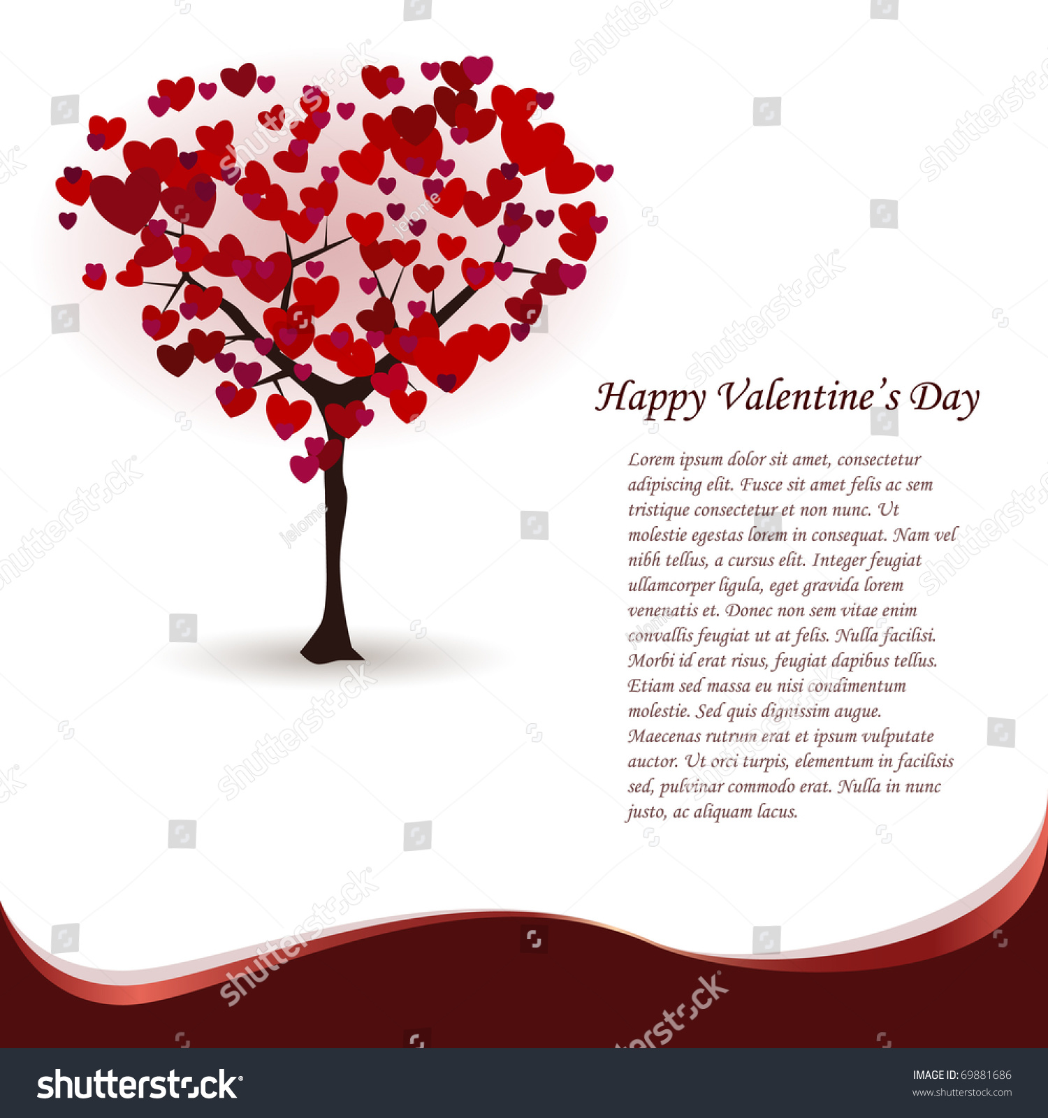 St Valentines Greeting Card Love Tree Vector 69881686 – Saint Valentine Card