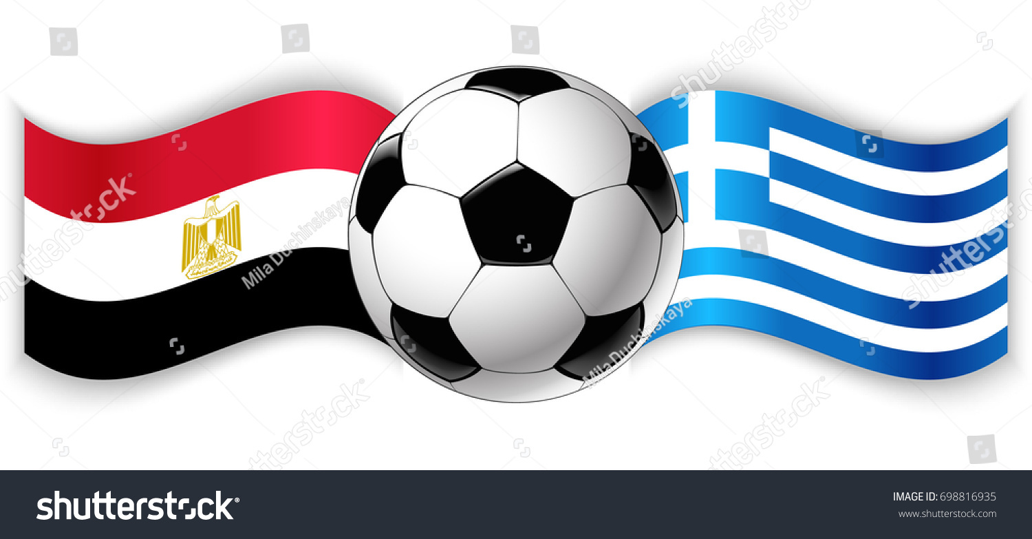 Egyptian and Greek wavy flags with football ball. Egypt combined with Greece  isolated on white 8a3a600530