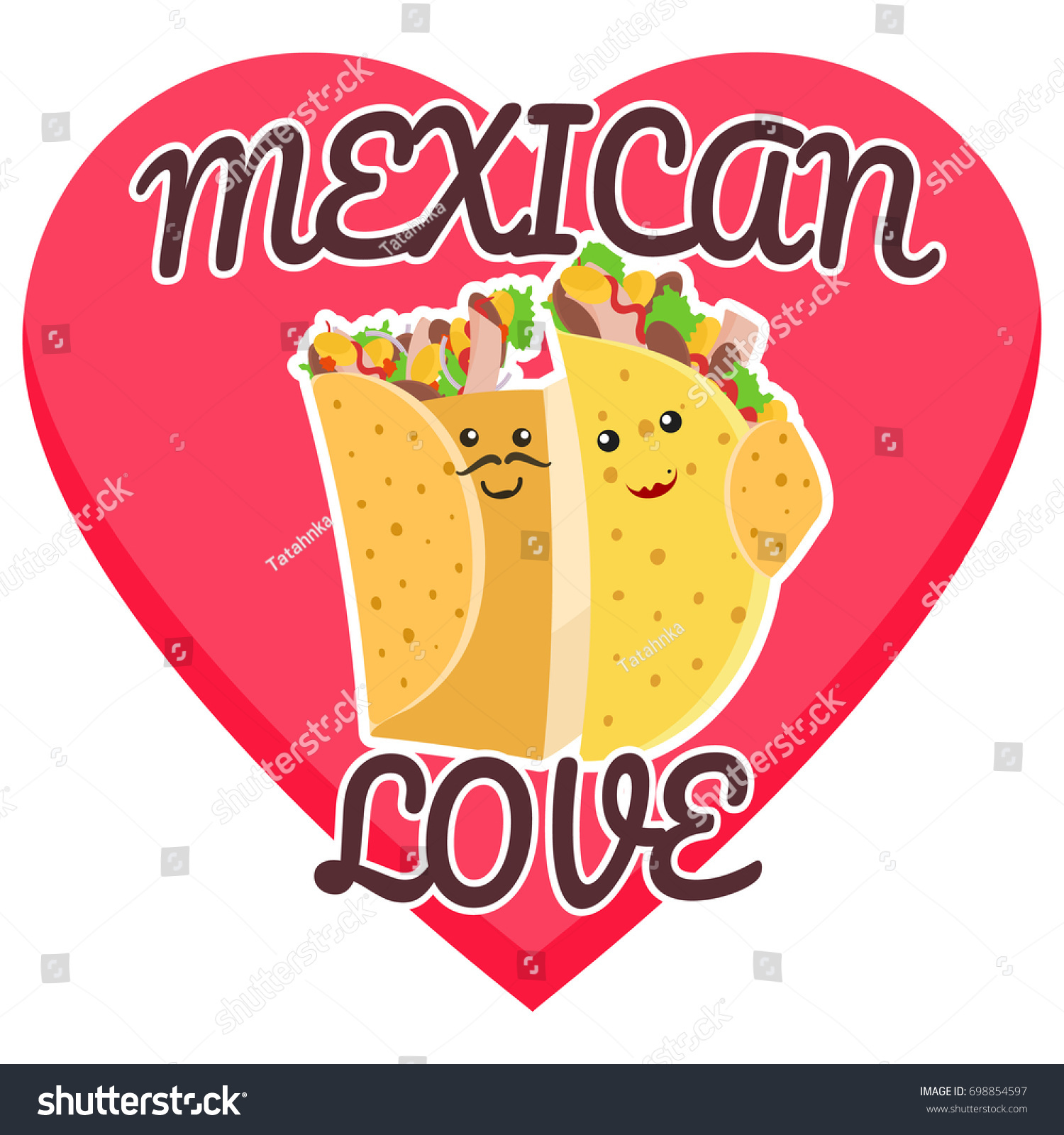 Mexican Love Symbol Hugging Burrito Taco Stock-Vektorgrafik ...