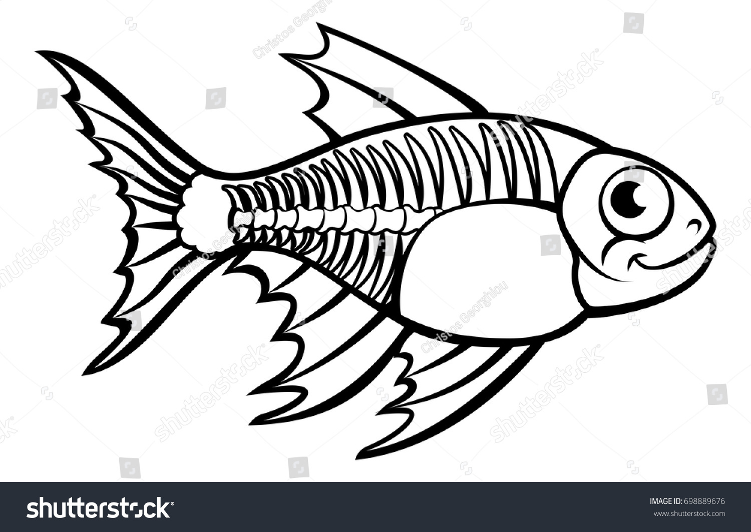 An X Ray Tetra Fish Animal Cartoon Character Outline Coloring Illustration