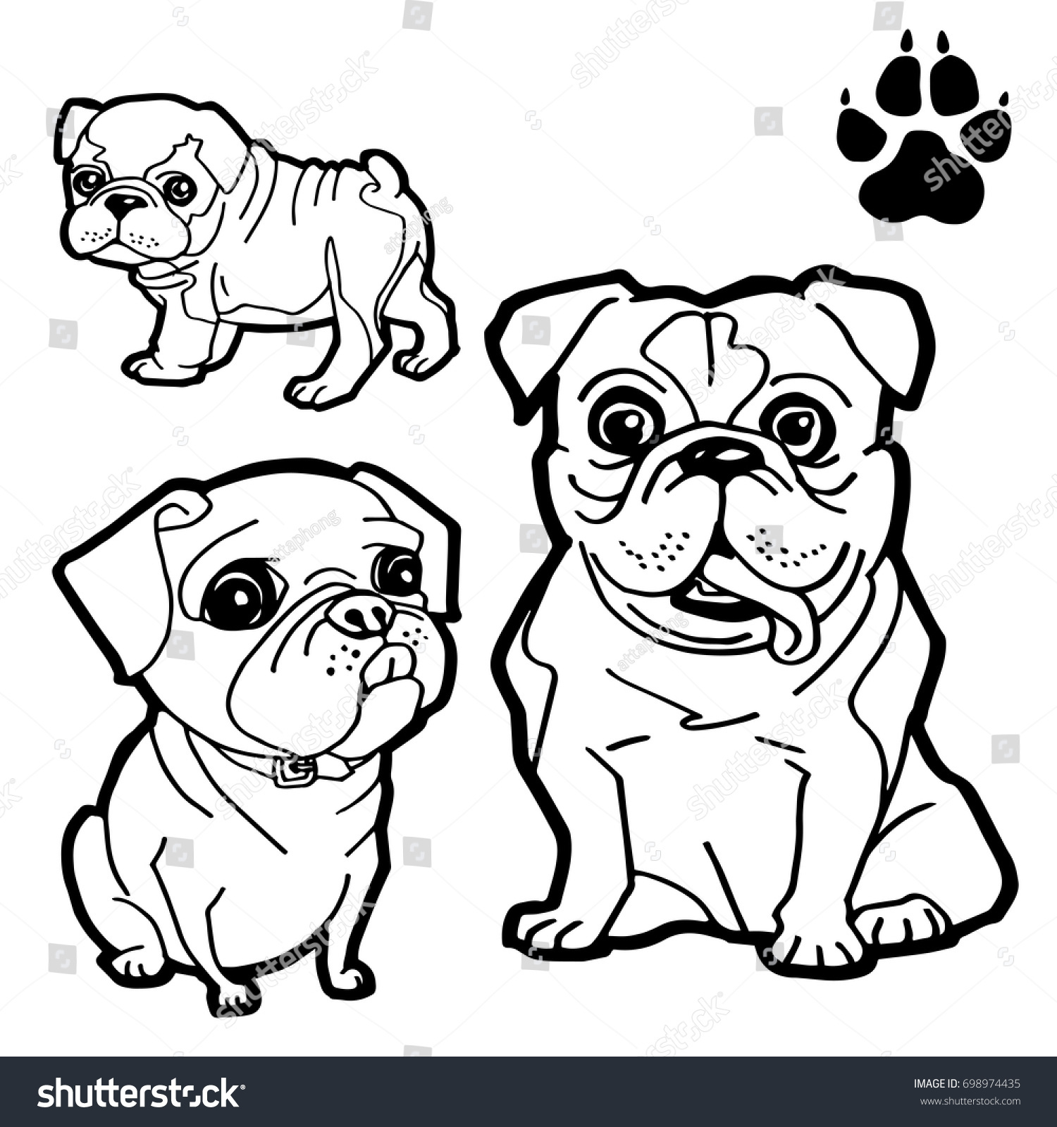 dog cartoon and dog paw print coloring book on white background vector - Print Coloring Book