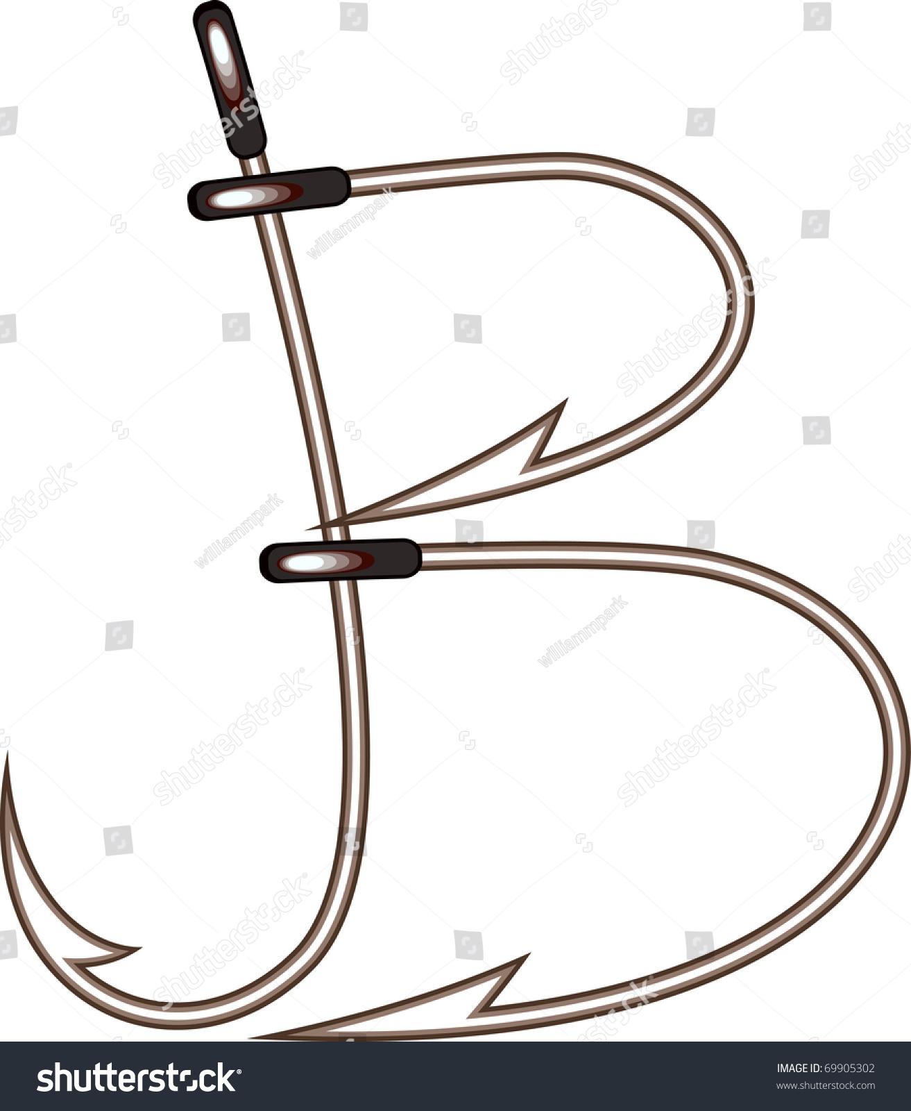 fishing hook letter b
