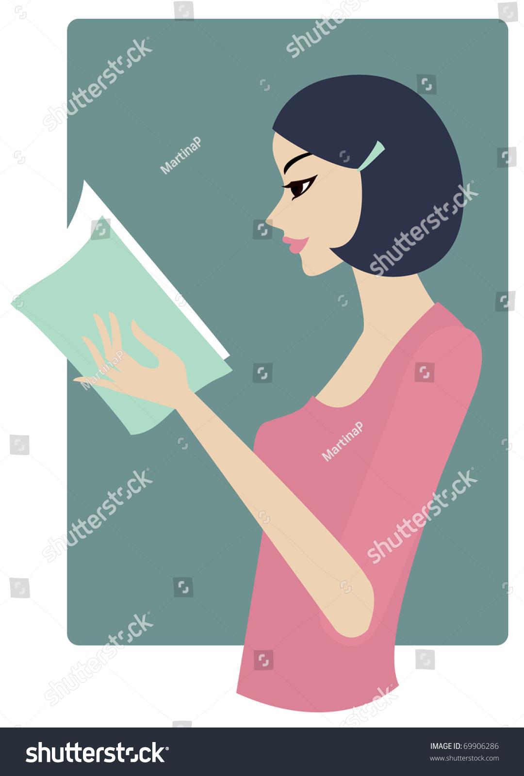 Girl Reading Stock Vector Illustration 69906286 : Shutterstock