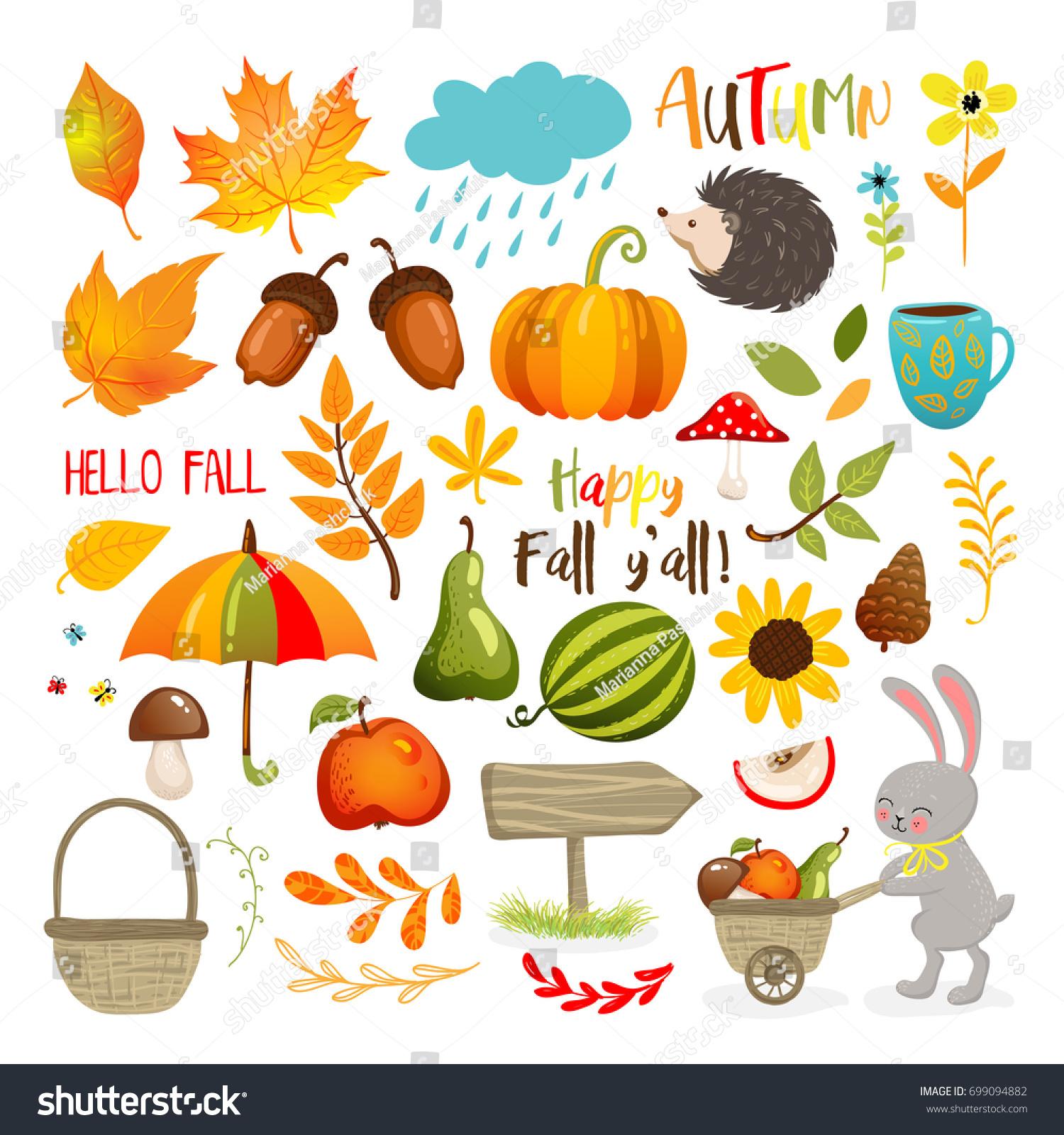 set cute autumn cartoon elements fall stock vector royalty free