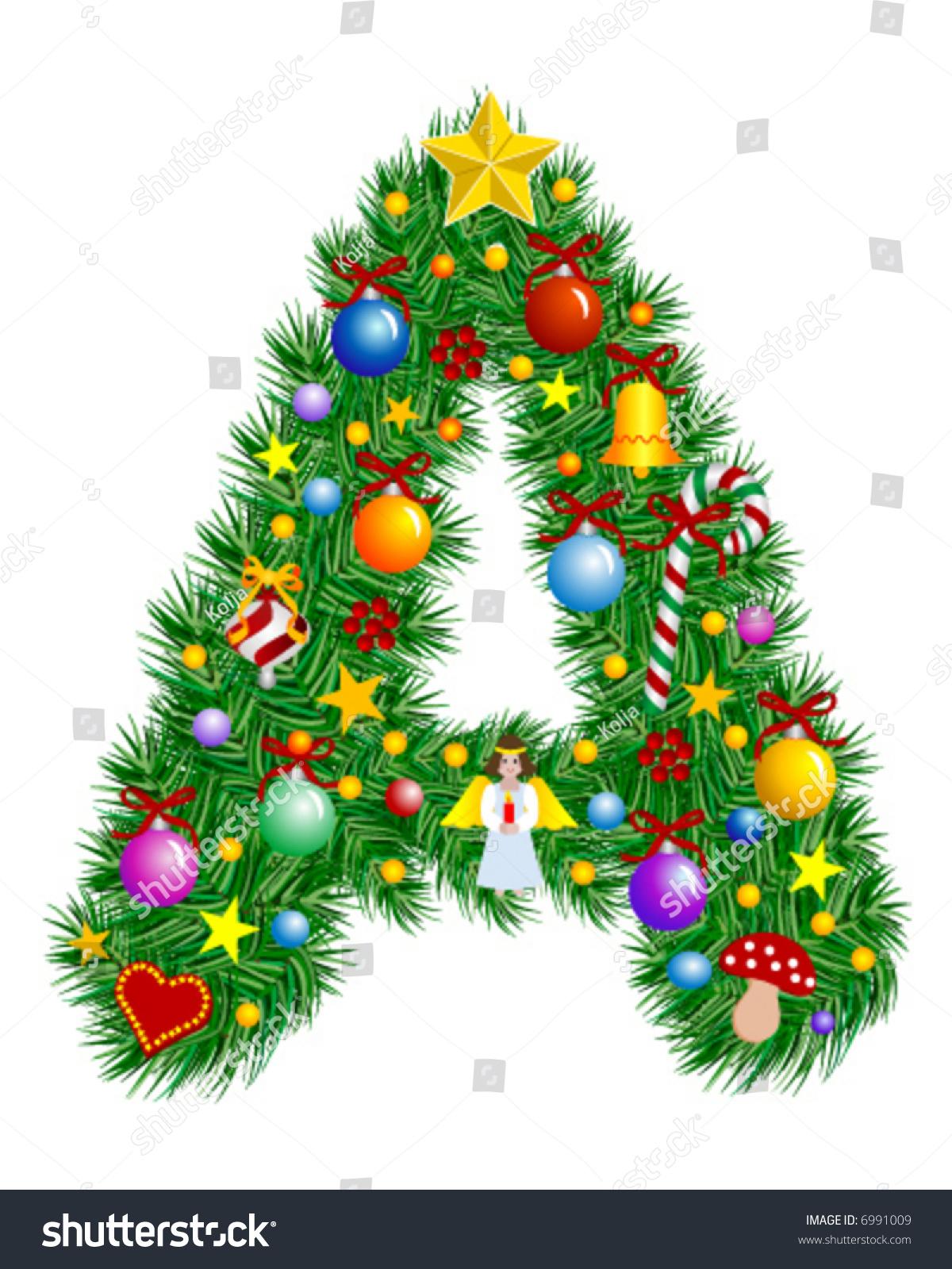 Letter christmas tree decoration alphabet stock vector for Letter k decoration
