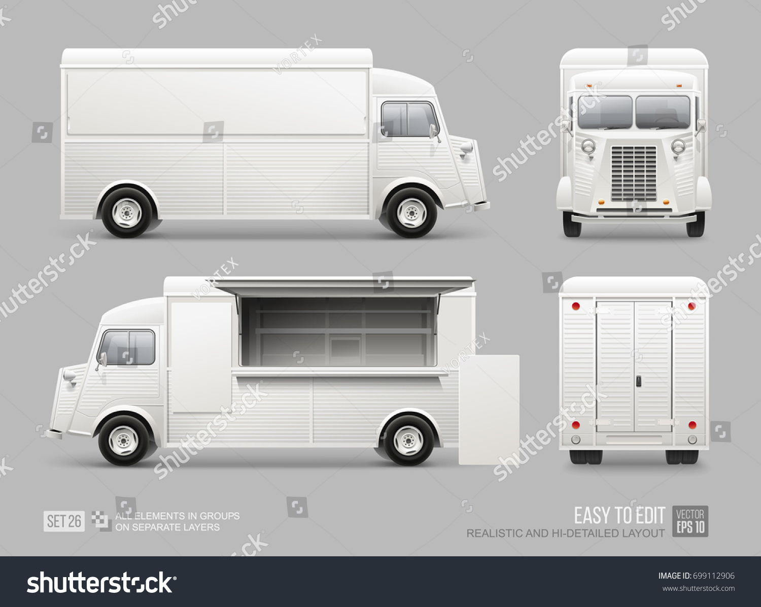 Old School Food Truck Mockup Set Stock Vector Royalty Free Llv Mail Fuel Filter Isolated On Grey Realistic Fast Van