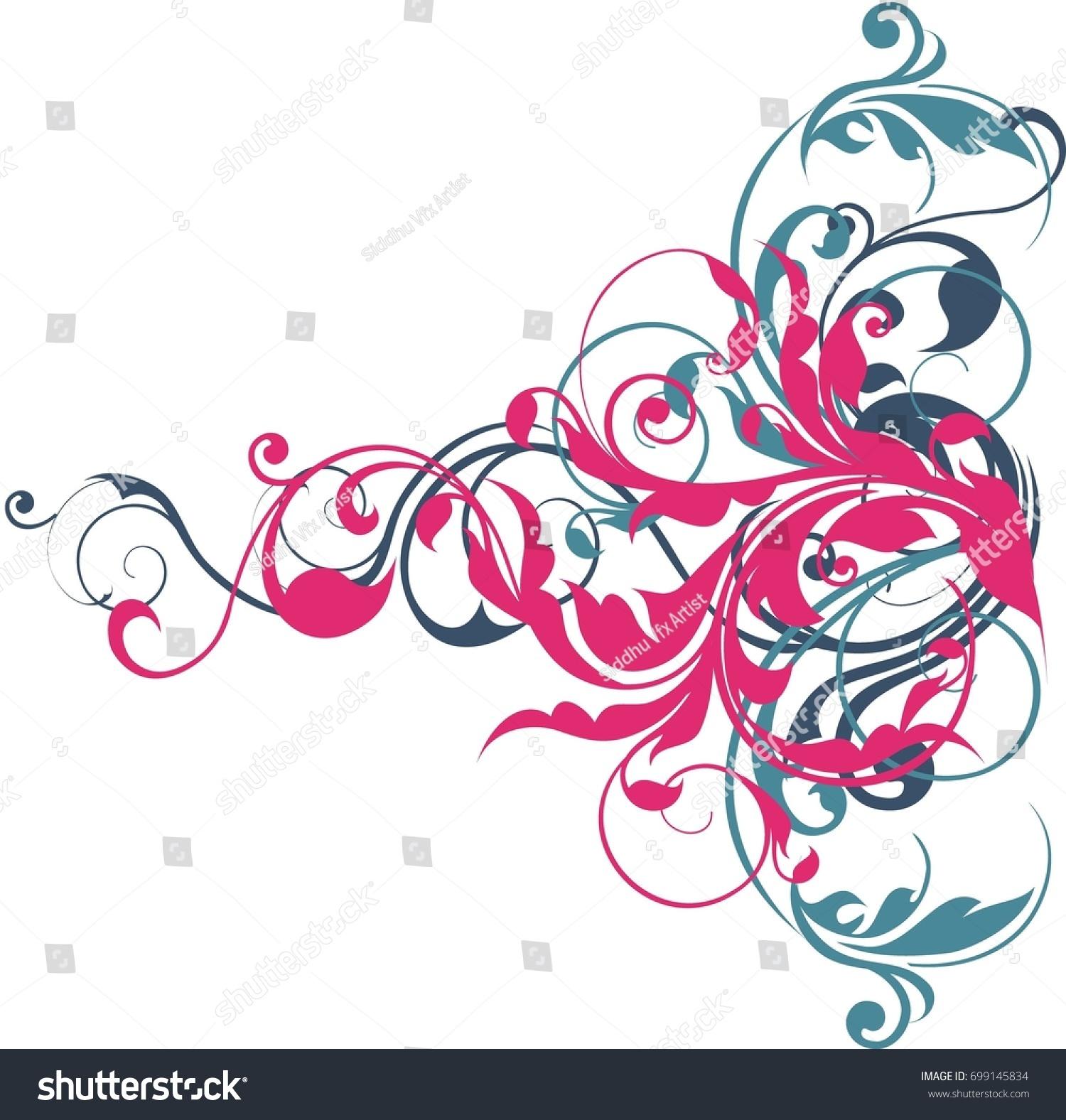 Creative Digital Floral Designs Stock Illustration