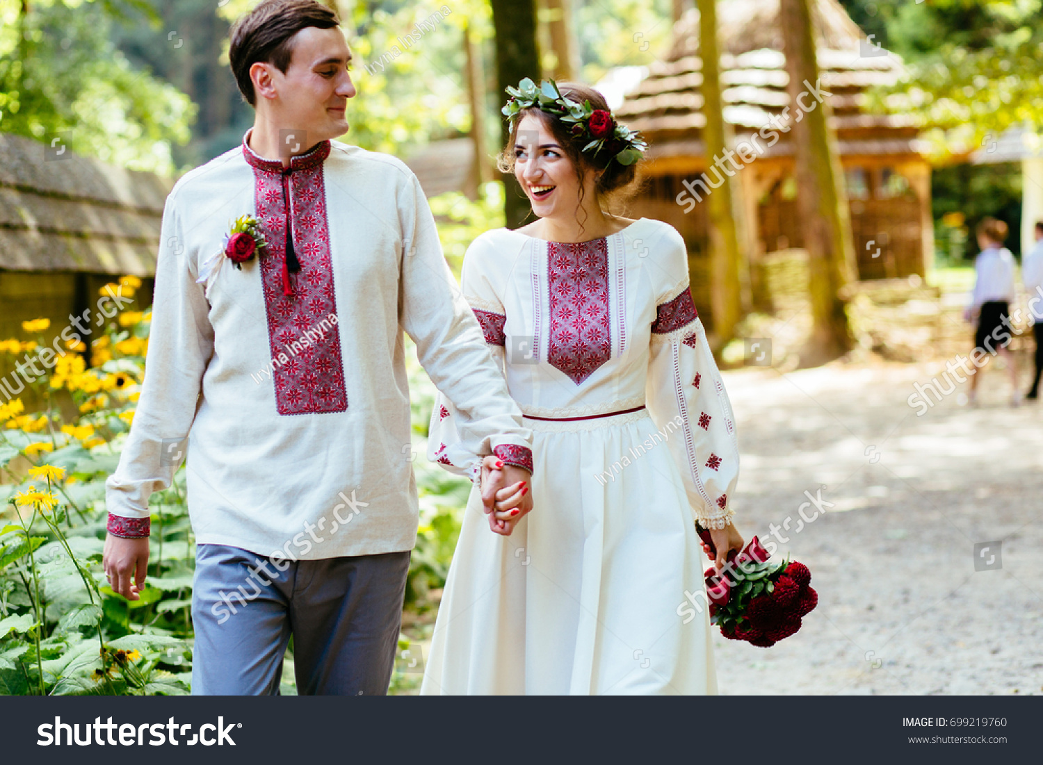 Beauty Wedding Couple Traditional Clothes Red Stock Photo 699219760