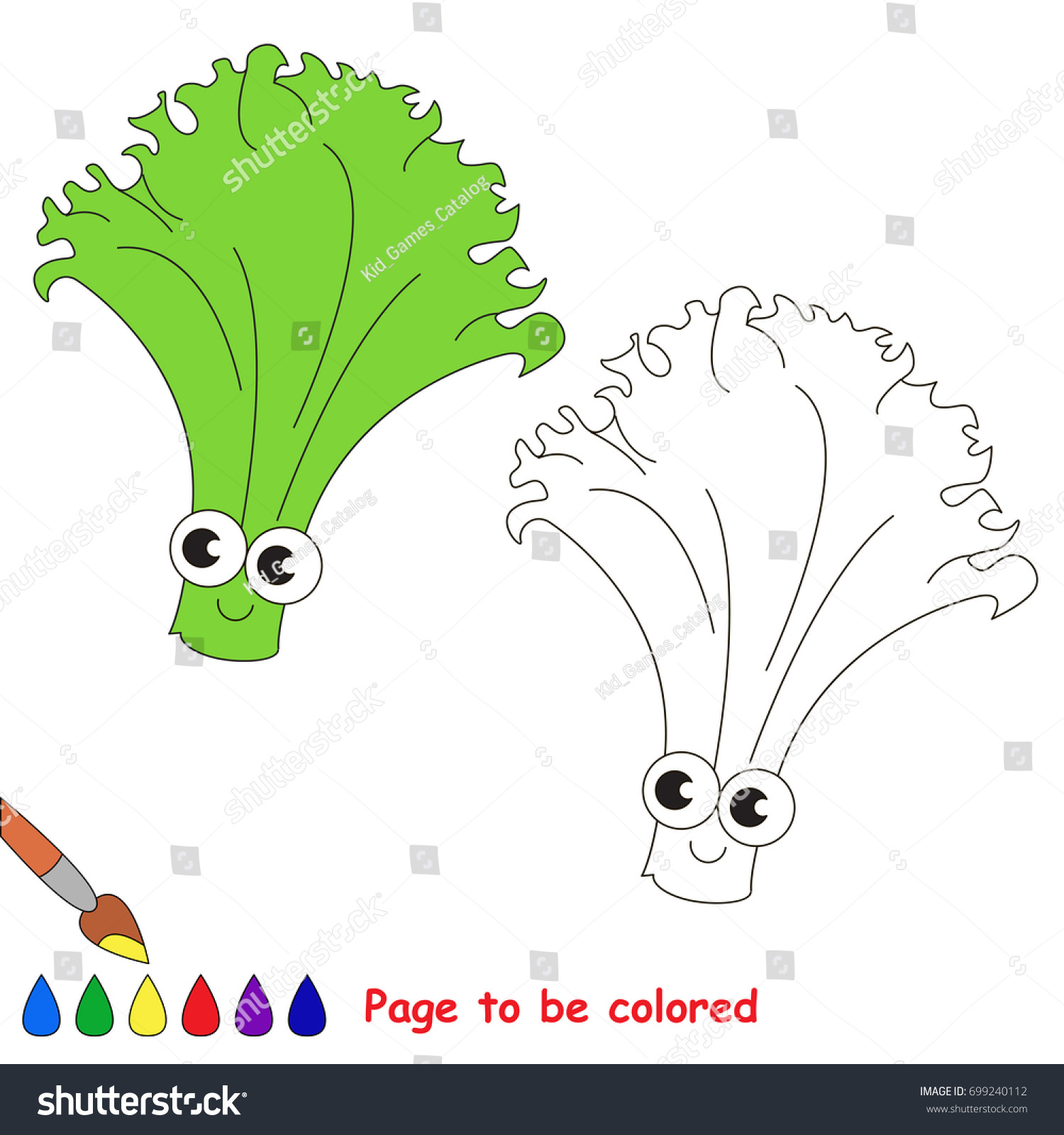 Funny Lettuce Be Colored Coloring Book Stock Vector 699240112 ...