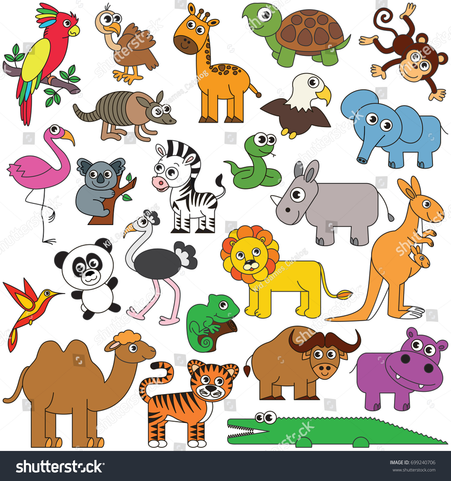 Safari Wild Animals Elements Set Collection Of Coloring Book Template The Group Outline