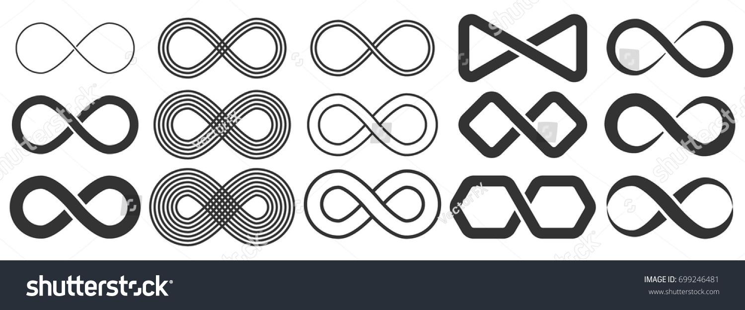 Infinity symbol. Vector logos set. Black contours of different shapes, thickness and style isolated on white. Symbol of repetition and unlimited cyclicity.