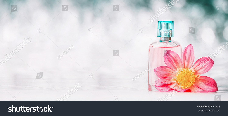 Perfume Bottle Pink Flower Bokeh Background Stock Photo Edit Now