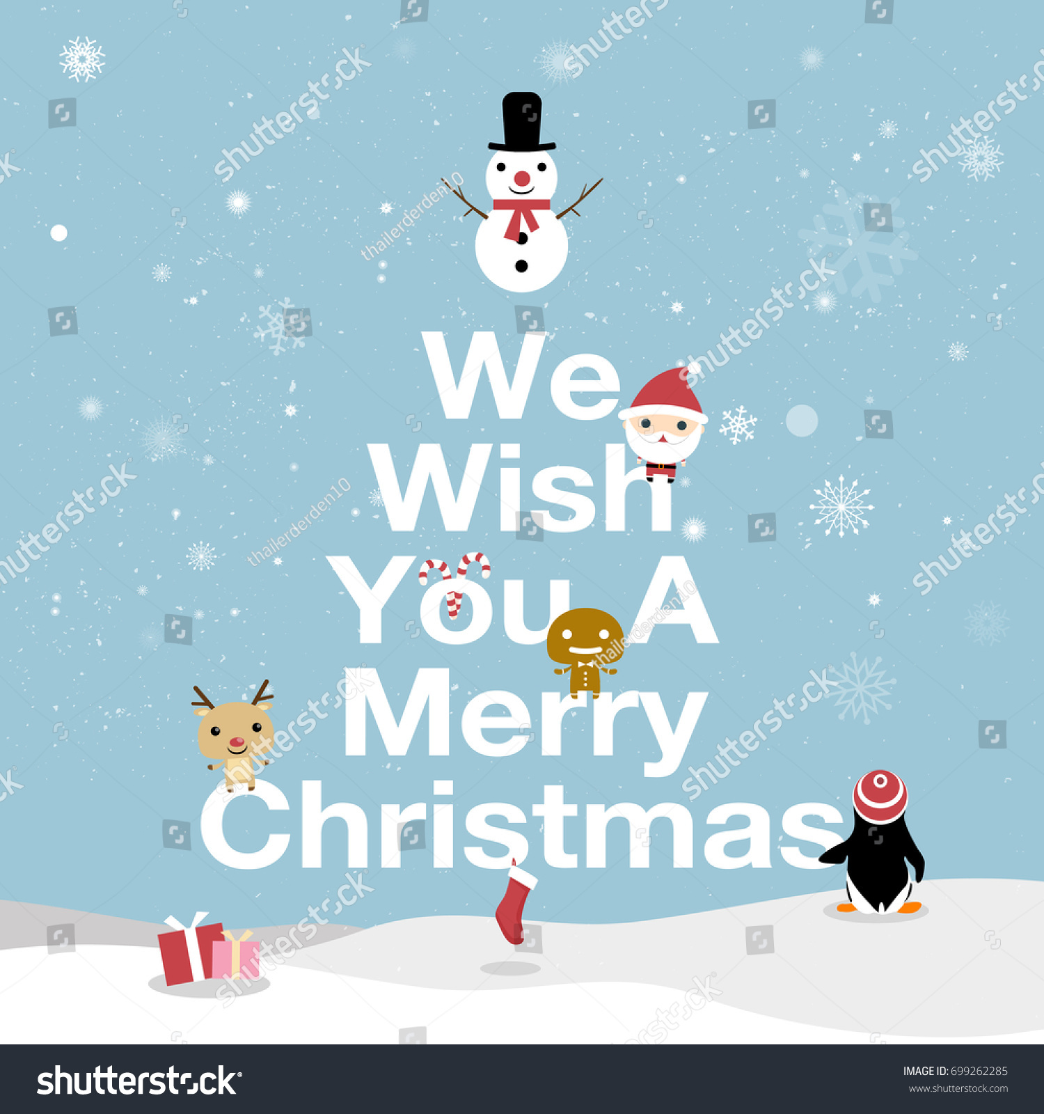 Merry Christmas Card We Wish You Stock Vector Royalty Free