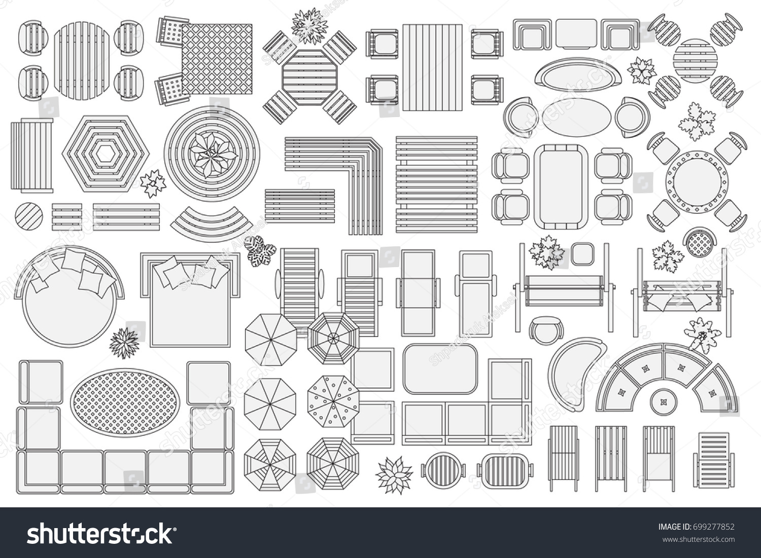 Icons Set Outdoor Furniture Patio Items Stock Vector