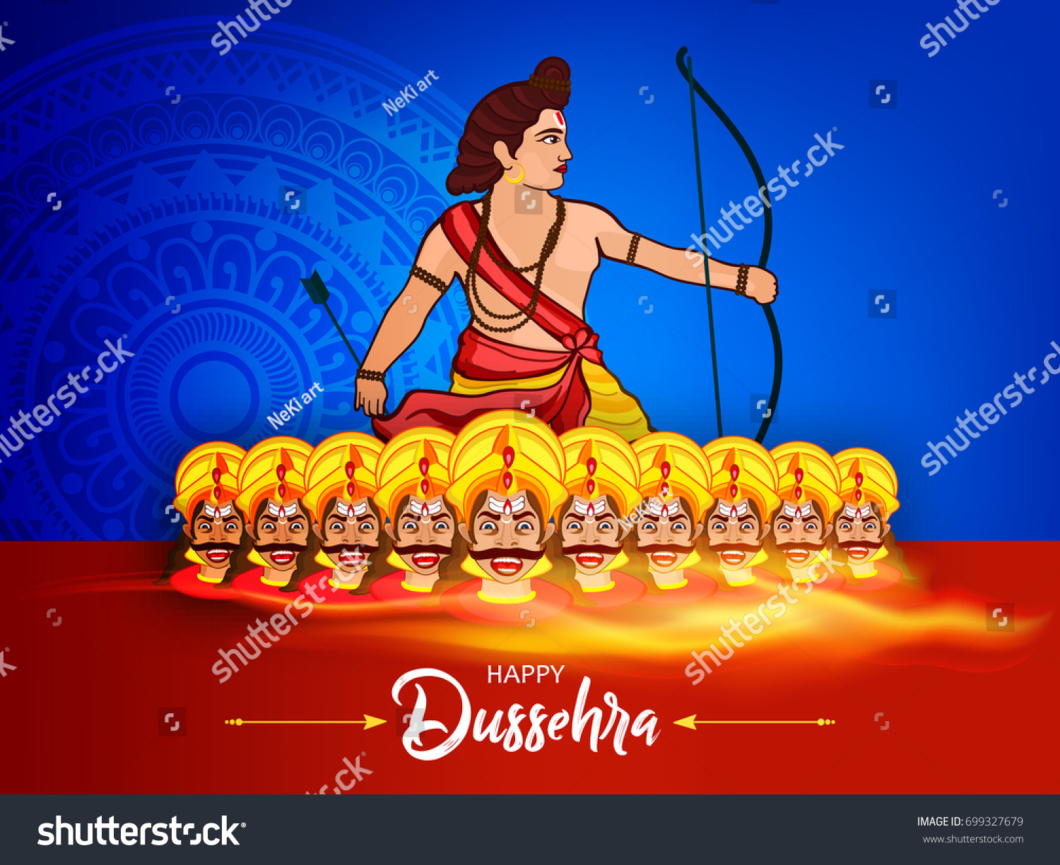 Beautiful greeting design on happy dussehra stock vector 699327679 beautiful greeting design on for happy dussehra vector illustration of ten faces of ravana with kristyandbryce Choice Image