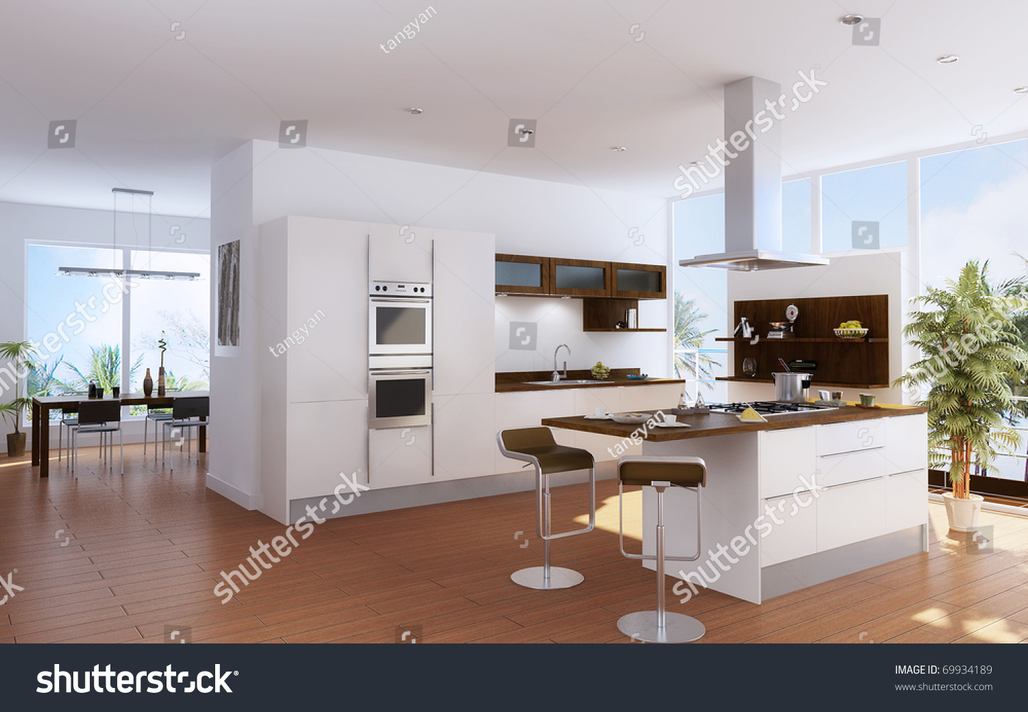 Modern kitchen interior design stock illustration 69934189 - Modern house interior design kitchen ...