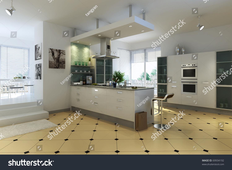 Modern Kitchen Interior Modern Kitchen Interior Design Stock Illustration 69934192