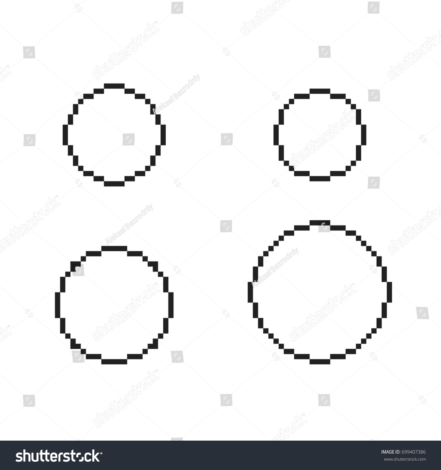 pixel circles set pixel round template stock vector royalty free