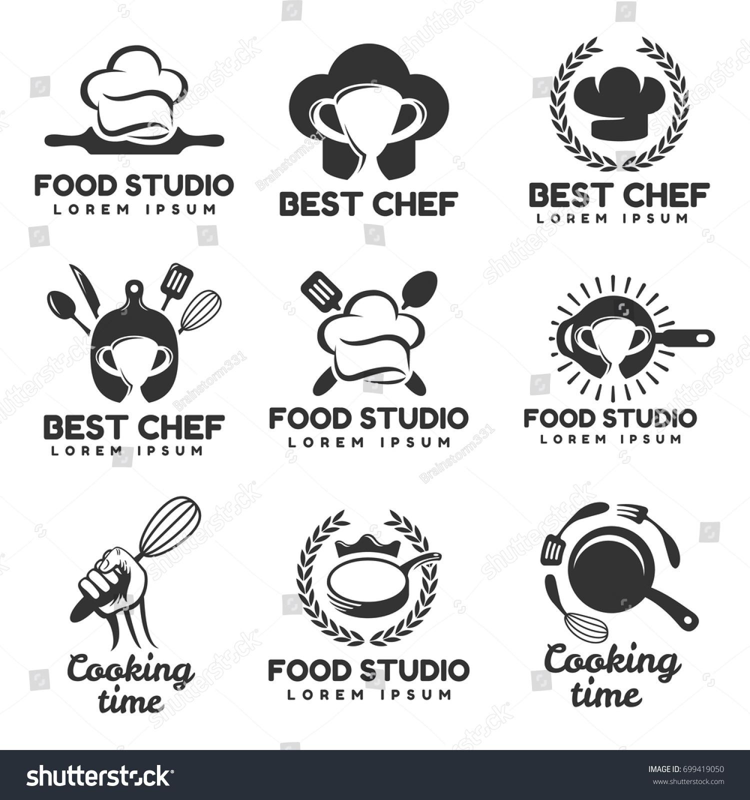 Cooking Logos Set Food Studio Vector Stock Vector
