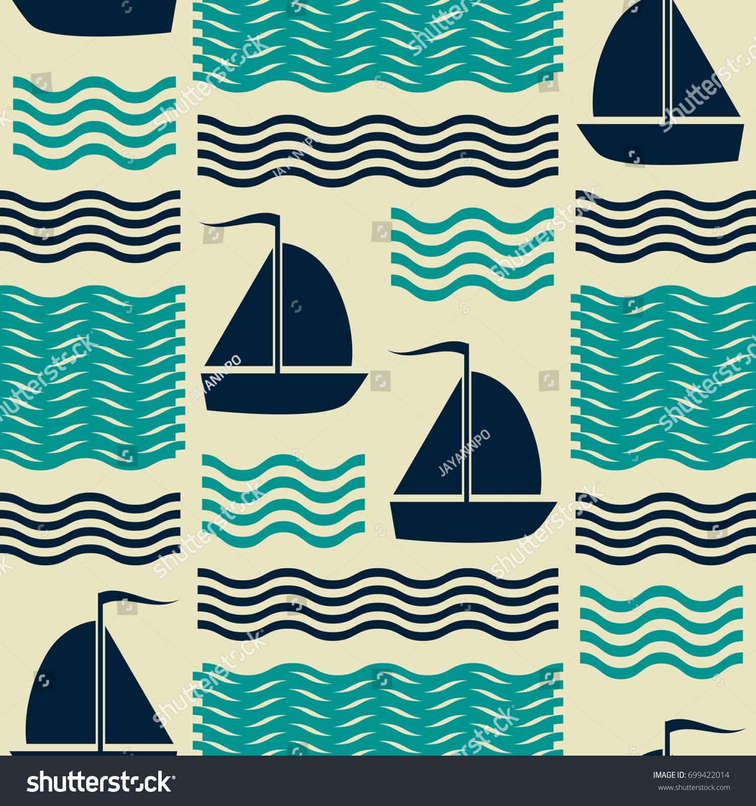 seamless nautical pattern waves sailing yachts stock vector